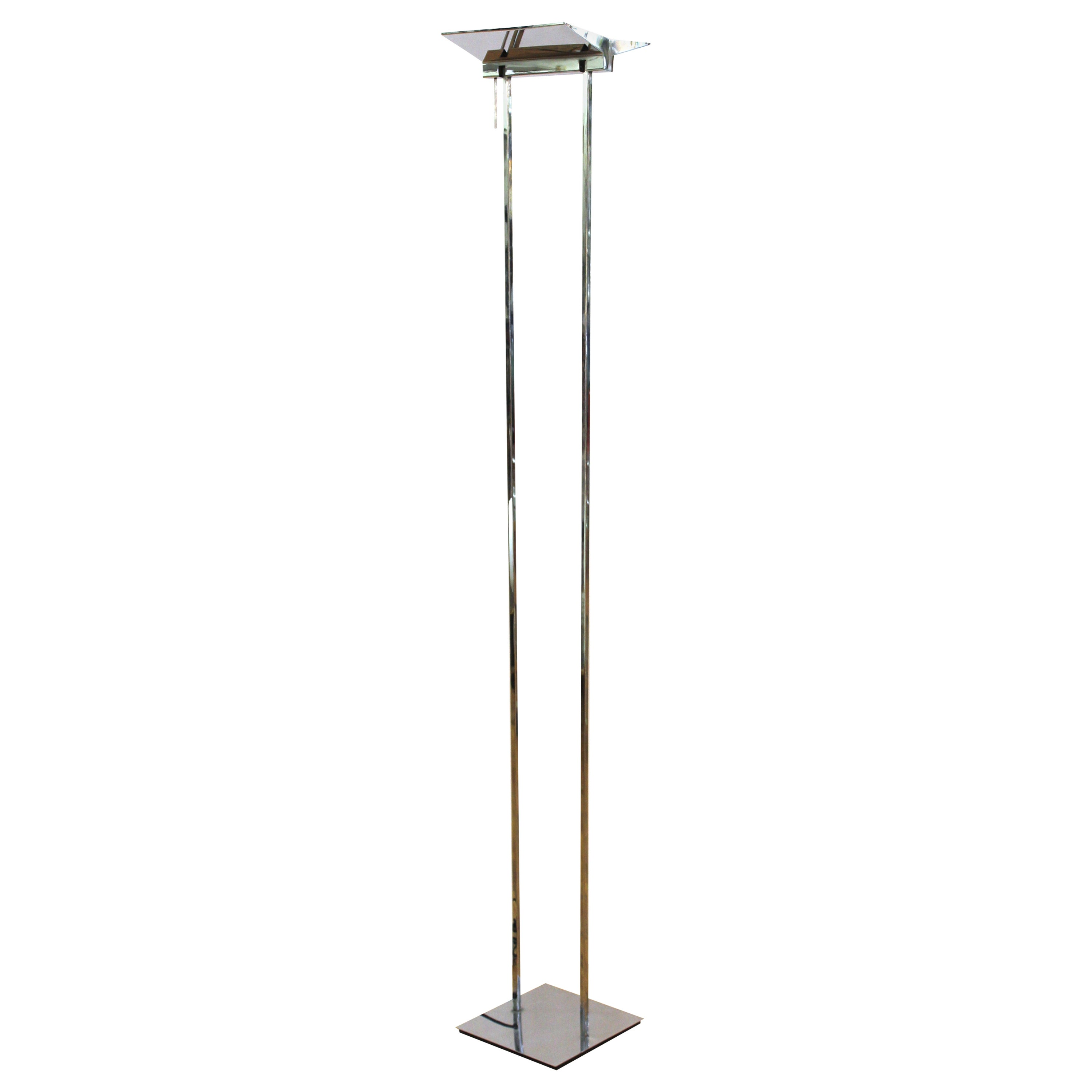 Gianfranco Frattini Attributed Relco Italian Modern Chrome Torchiere Floor Lamp