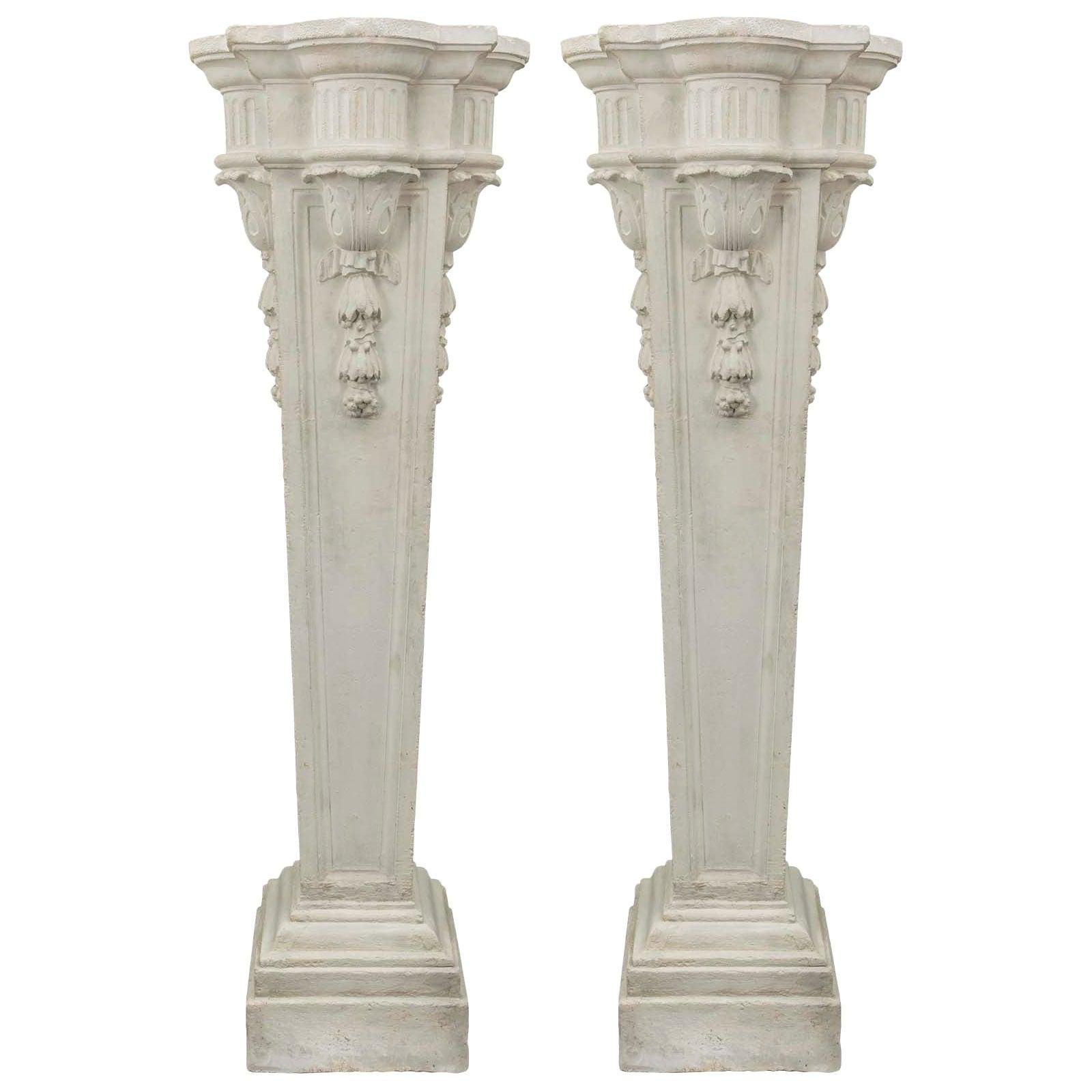French 19th Century Louis XVI Style Plaster Pedestals