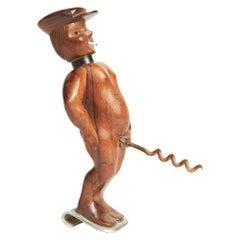 French Folk Art Figural Combination Bottle-Opener, Corkscrew & Table Lighter