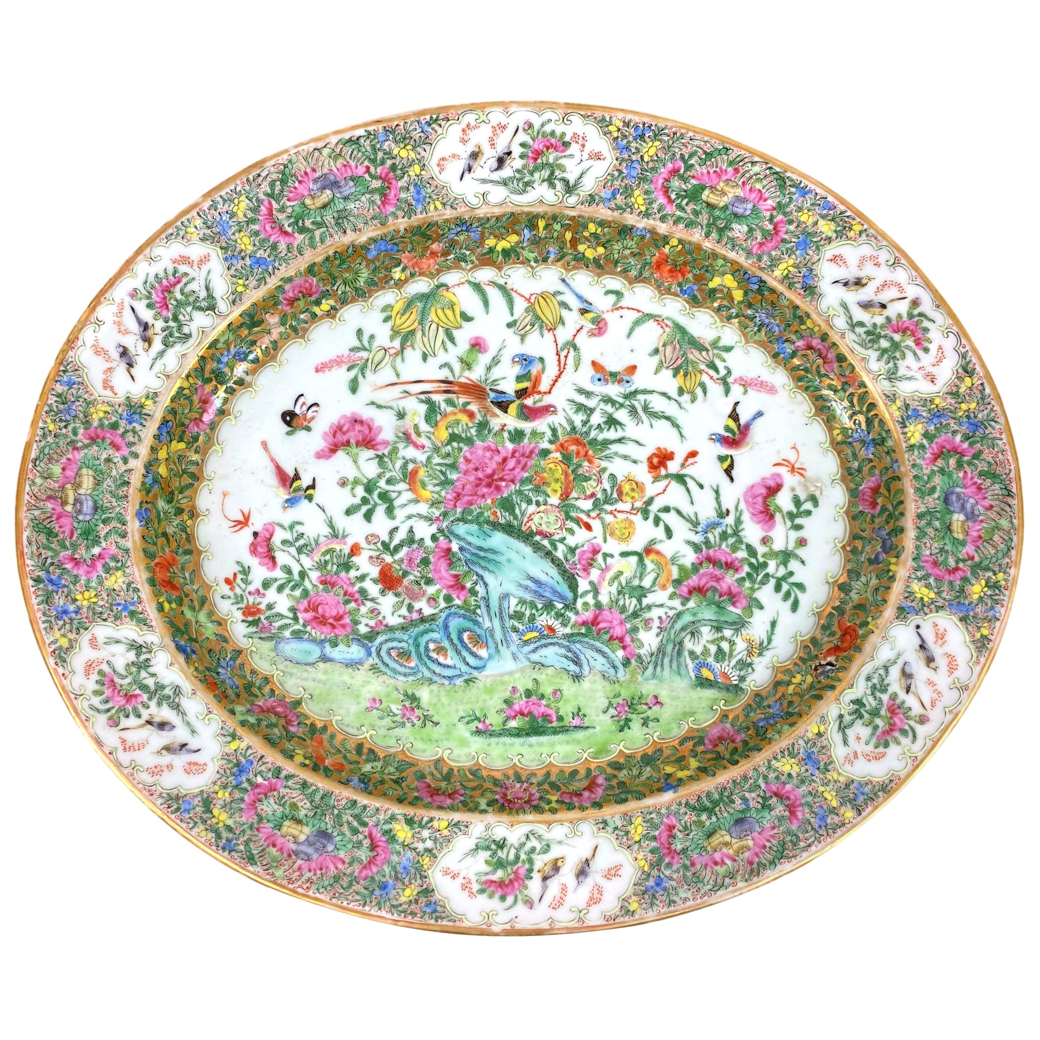 Large Chinese Export Porcelain Famille Rose Medallion Platter, Canton, ca. 1820