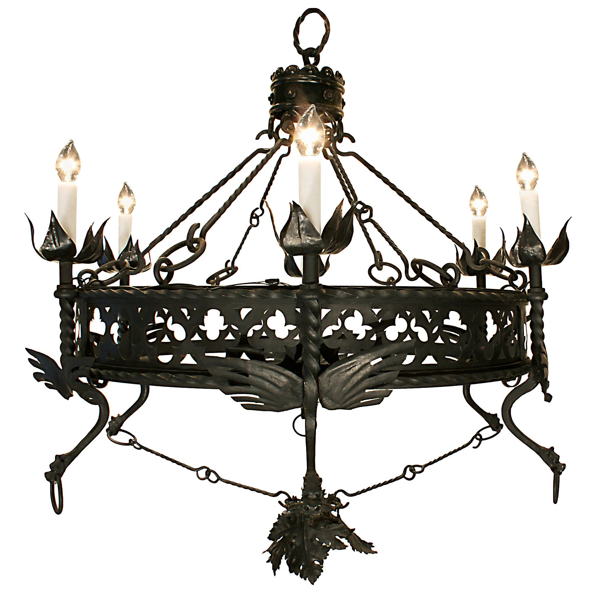 19th Century Wrought Iron Patinated Six Light Chandelier