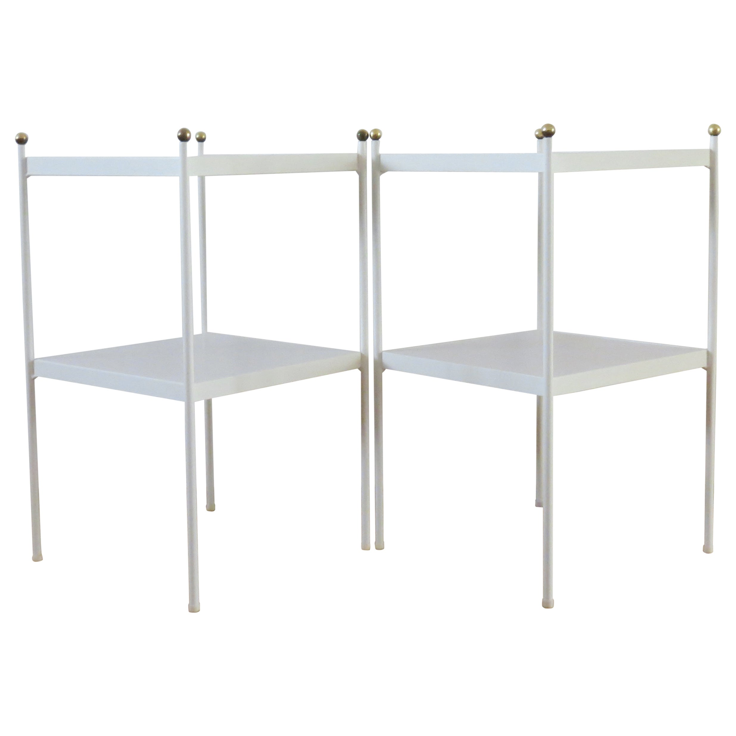 Pair of White Metal Bedside Cabinets Side Tables with Brass Detail, 1960s