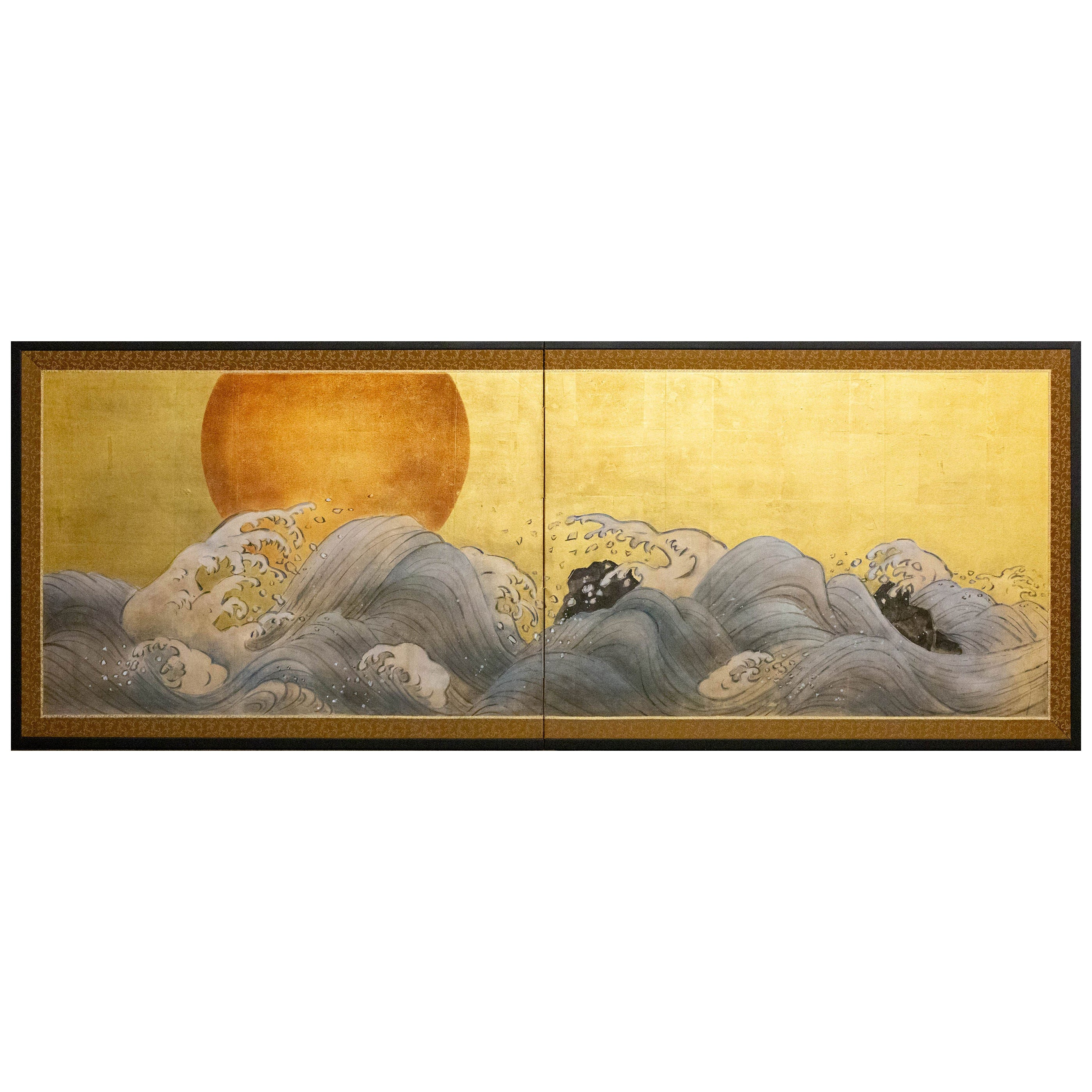 Japanese Two Panel Screen Sun Over Cresting Waves on Gold Leaf