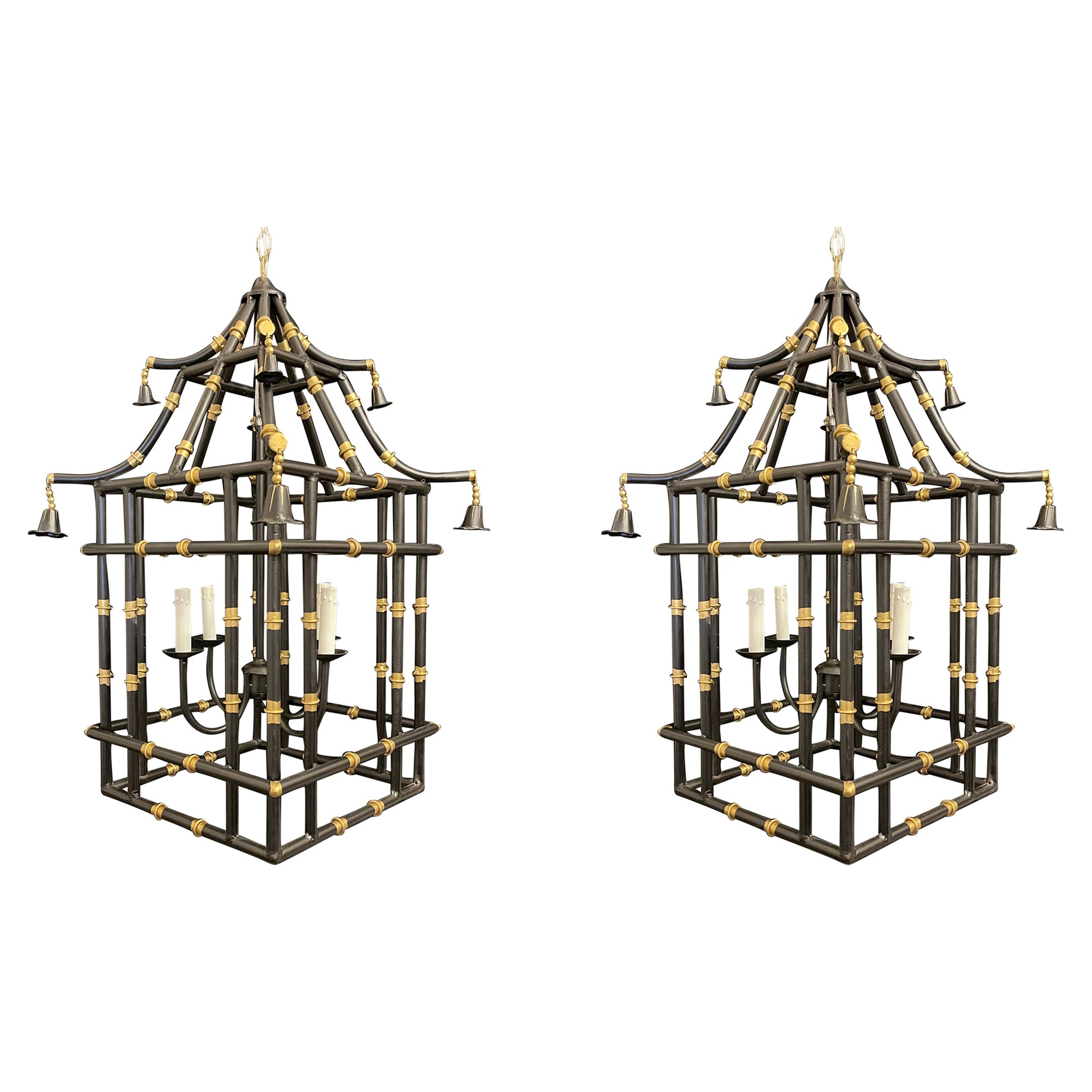 Divine Large Pair Black & Gold Gilt Pagoda Bamboo Chinoiserie Lanterns Fixtures