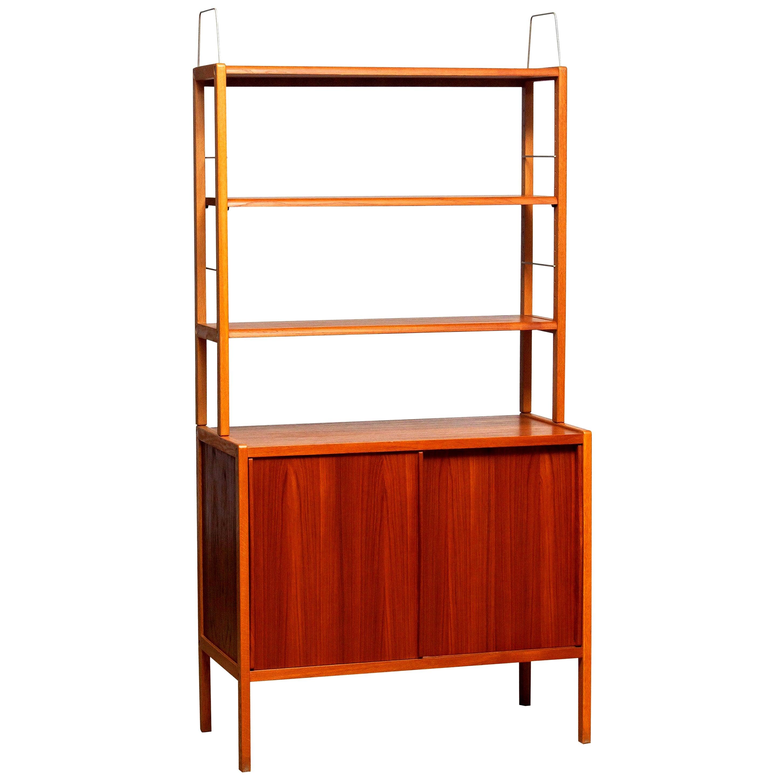 1960, Teak, Oak and Brass Bookcase by Bertil Fridhagen for Bodafors, Sweden