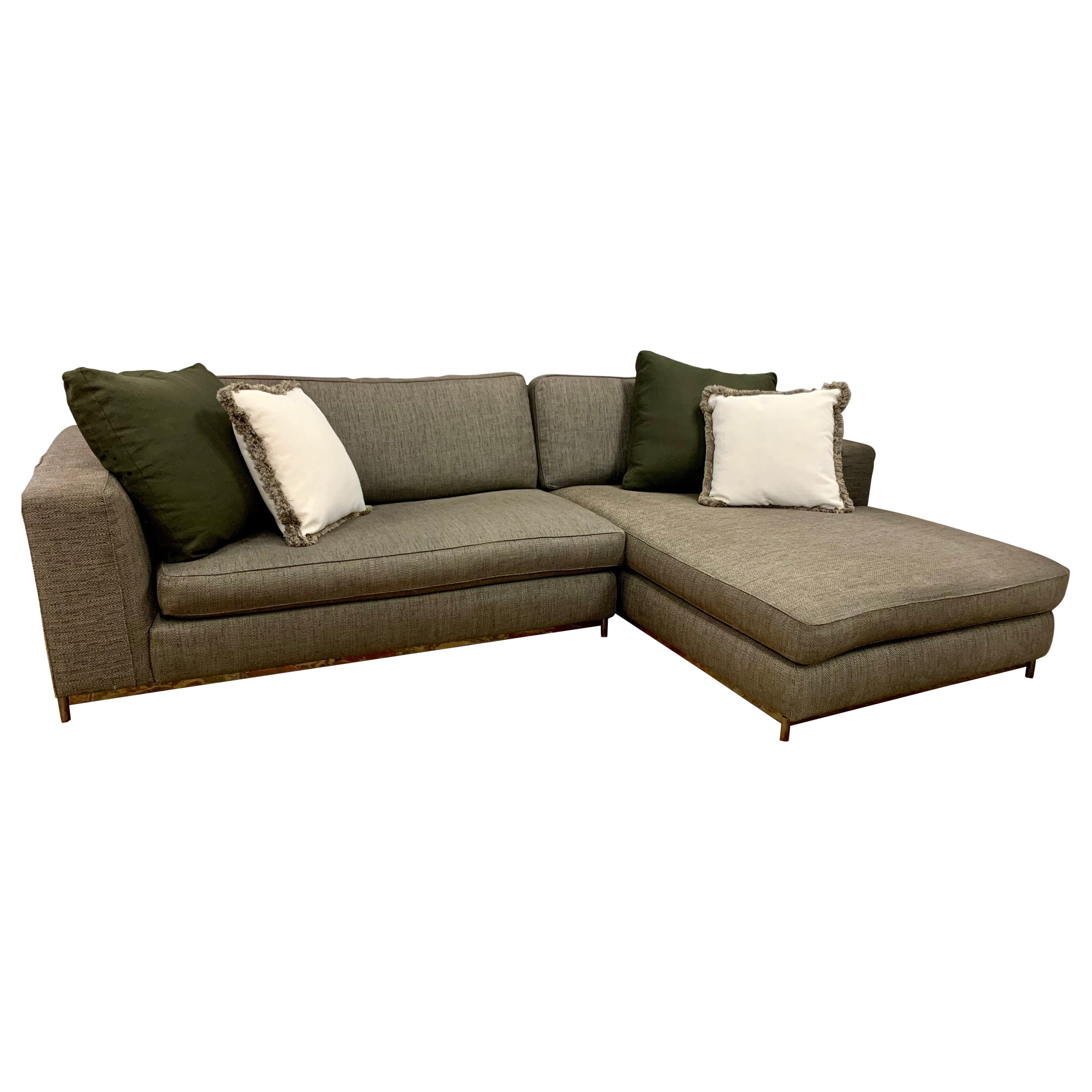 Minotti Signed Two-Piece Sectional Sofa Made in Italy