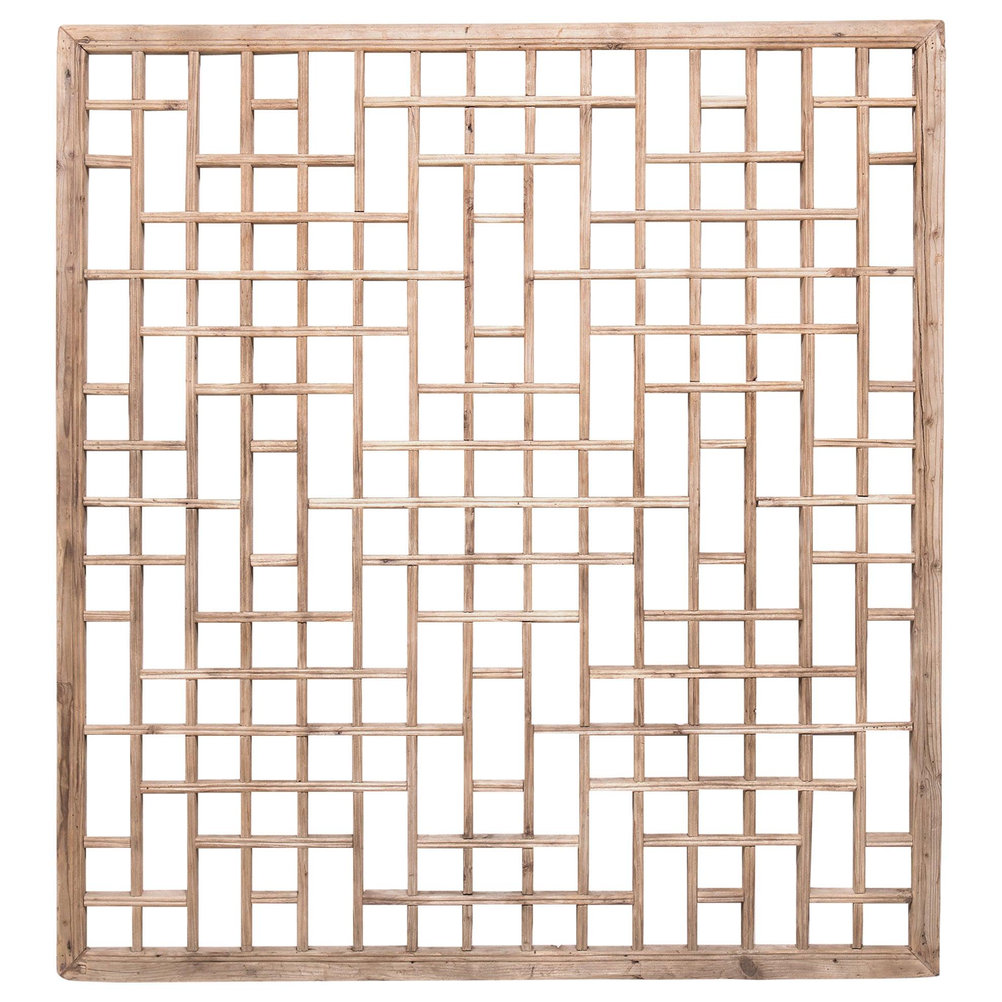Chinese Lattice Window Panel, circa 1900