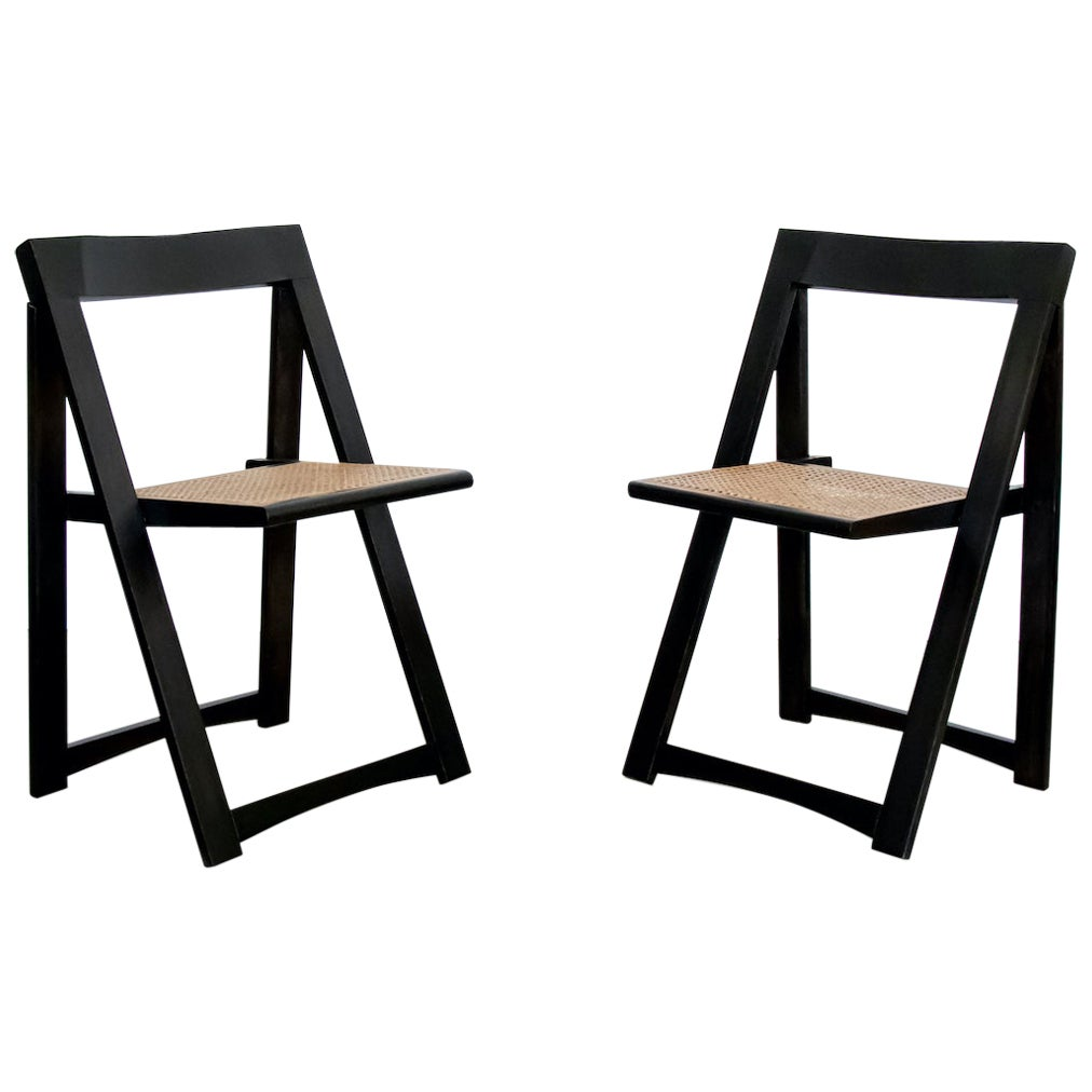Italian Wood and Cane Folding Chair by Aldo Jacober