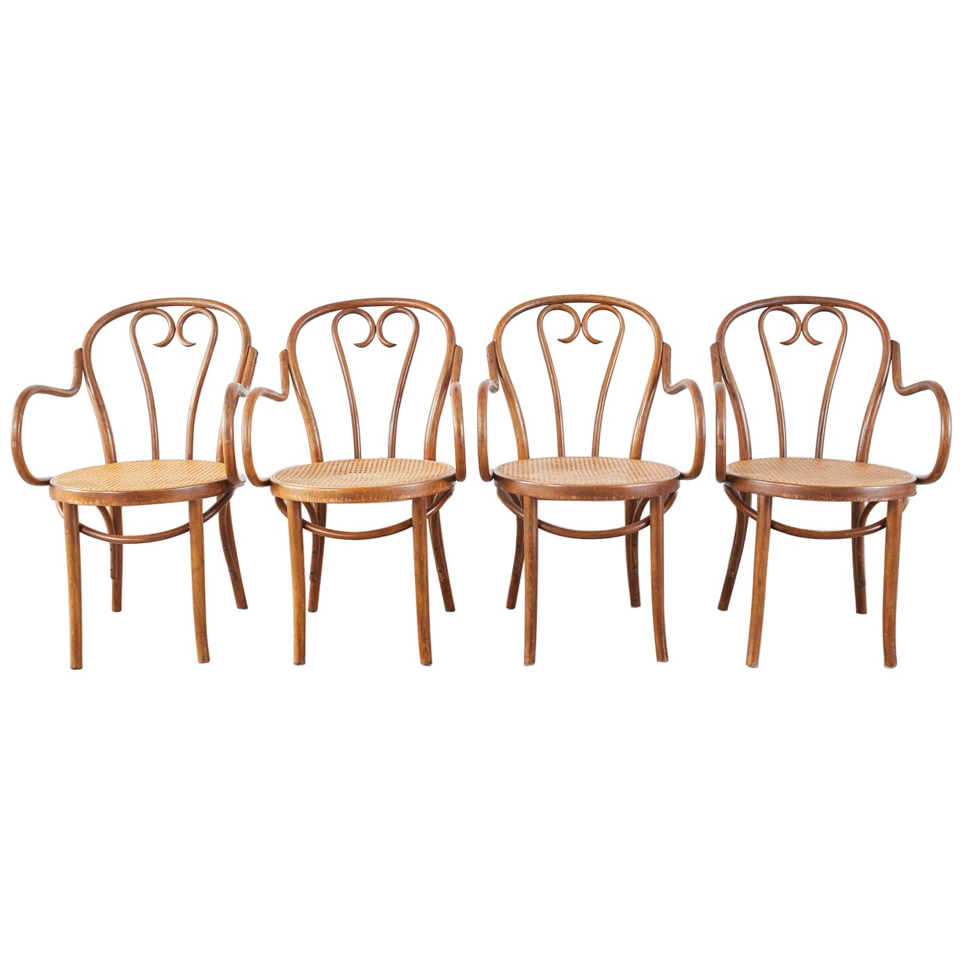 Set of Four Thonet Style Bentwood and Cane Armchairs