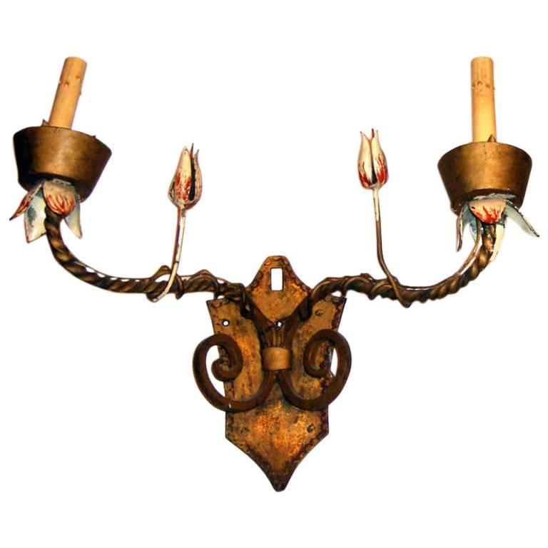 Floral Metal Wall Sconces : Large Gilt Metal Sconces with Floral Detail For Sale at 1stdibs
