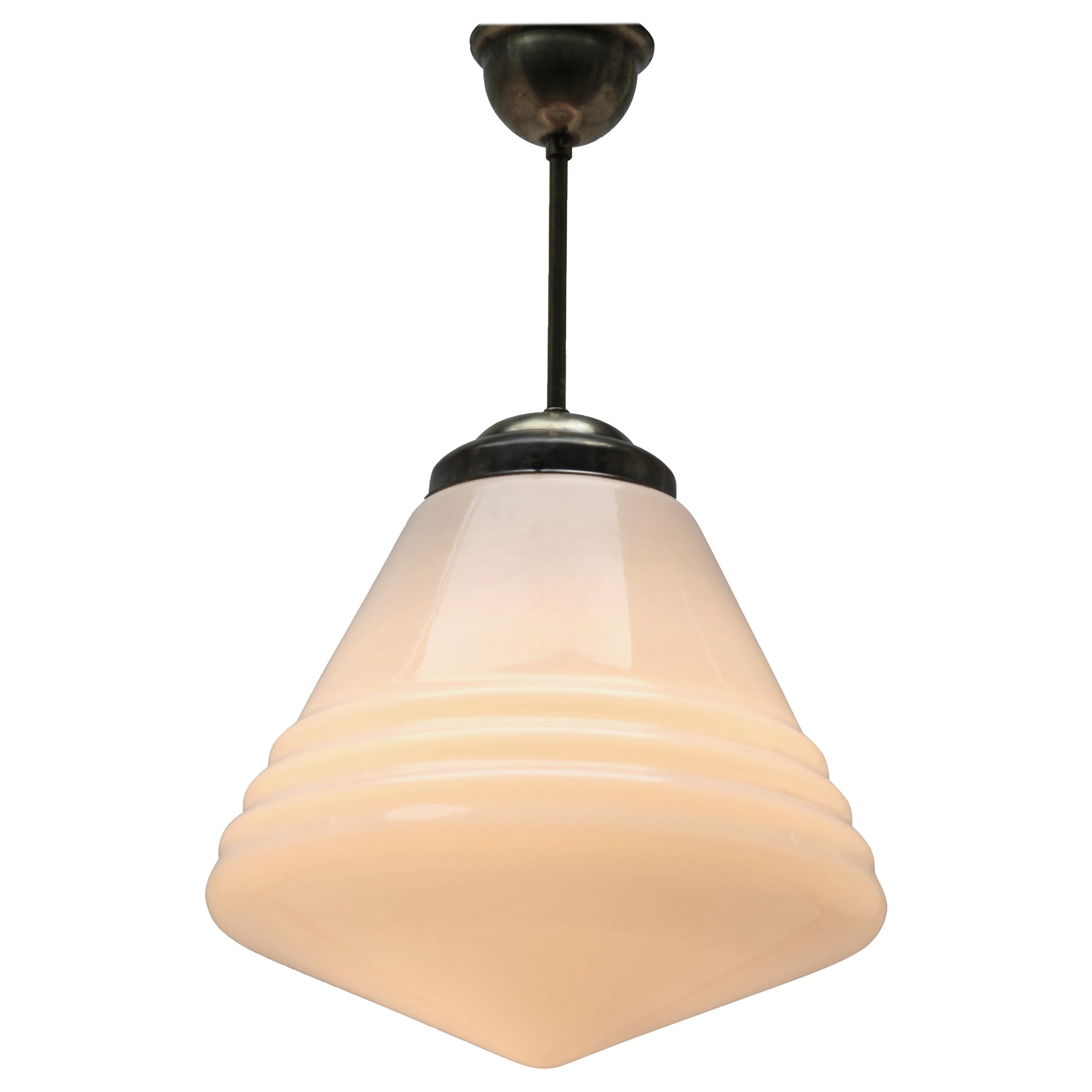 Phillips Pendant Stem Lamp with Large Stepped Opaline Shade, 1930s, Netherlands