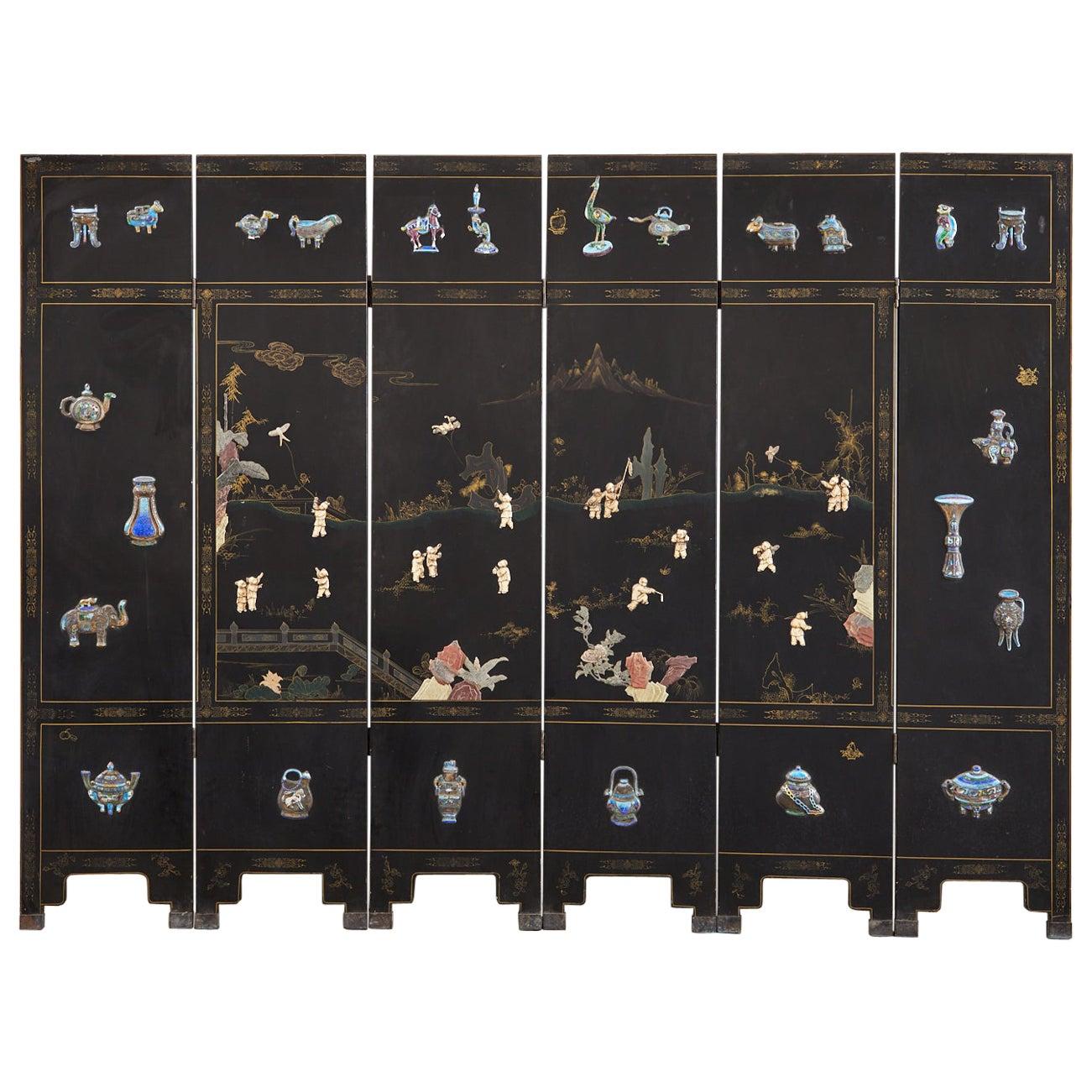 Chinese Export Six Panel Cloisonné Soapstone Coromandel Screen