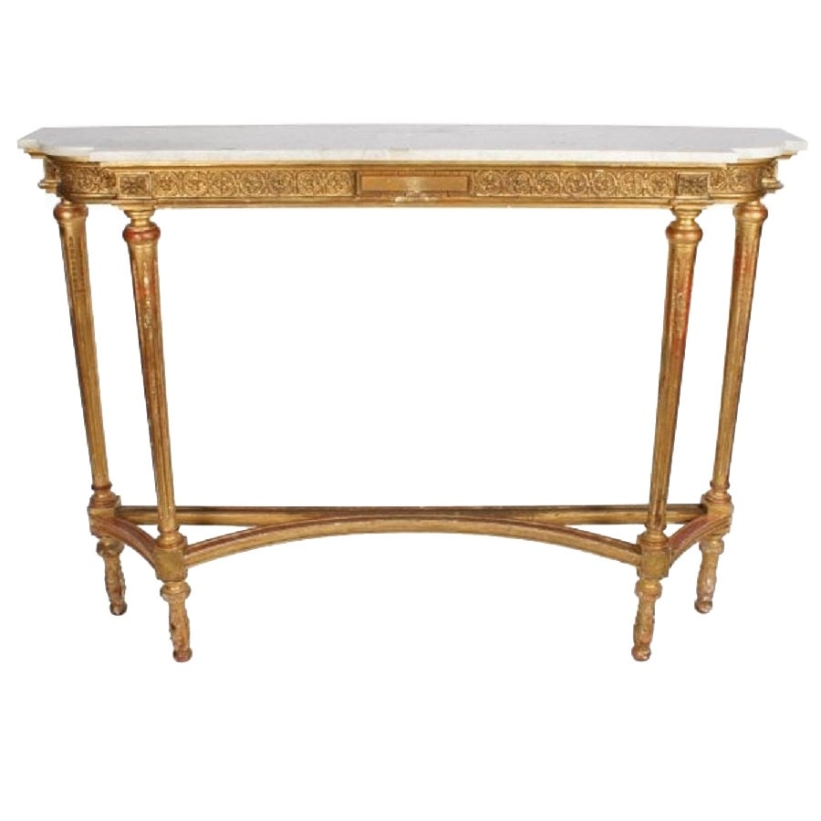 Tall Gilt Wood Marble Top Console Table, 19th Century