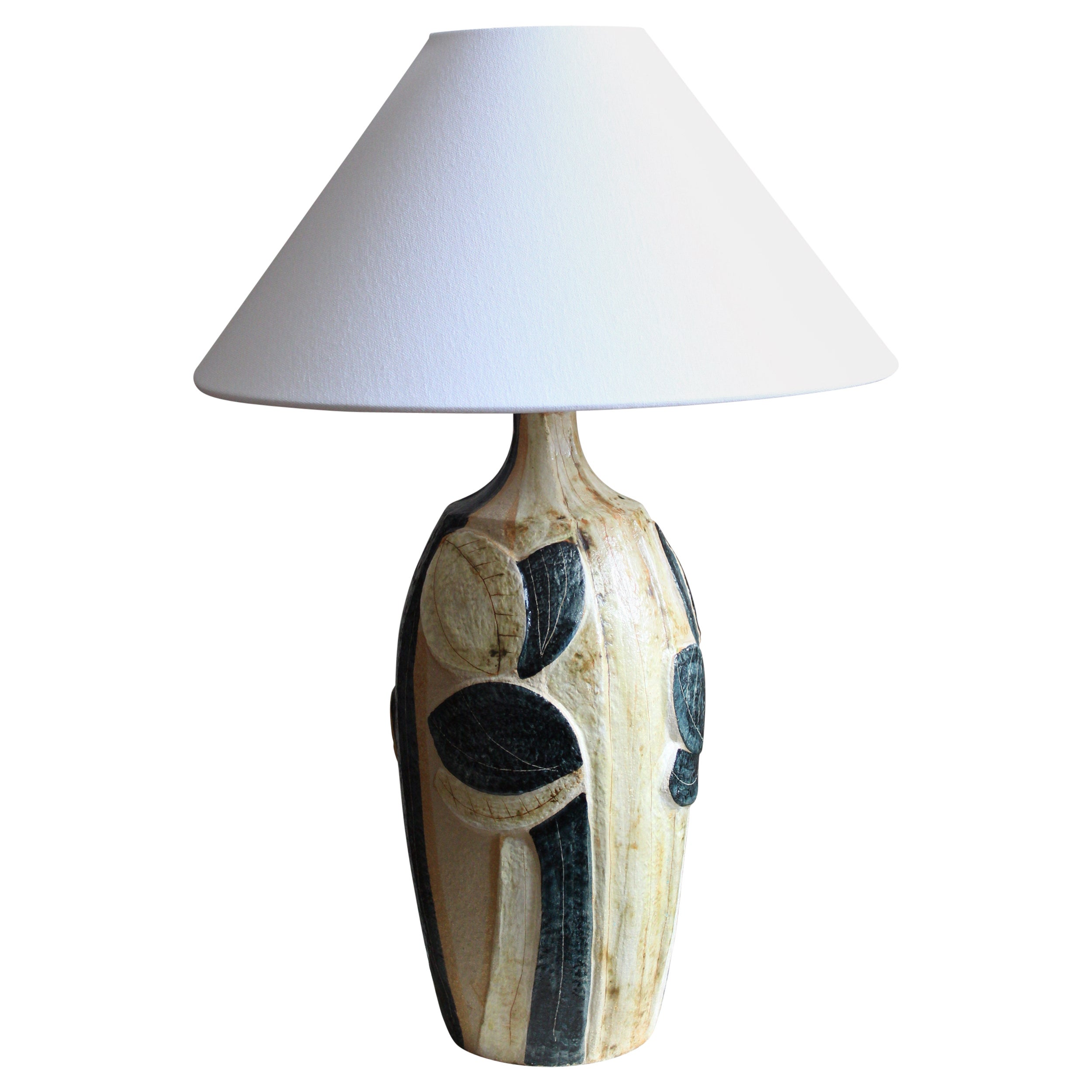 Noomi Backhausen, Large Table Lamp, Stoneware, Søholm, Bornholm, Denmark, 1960s