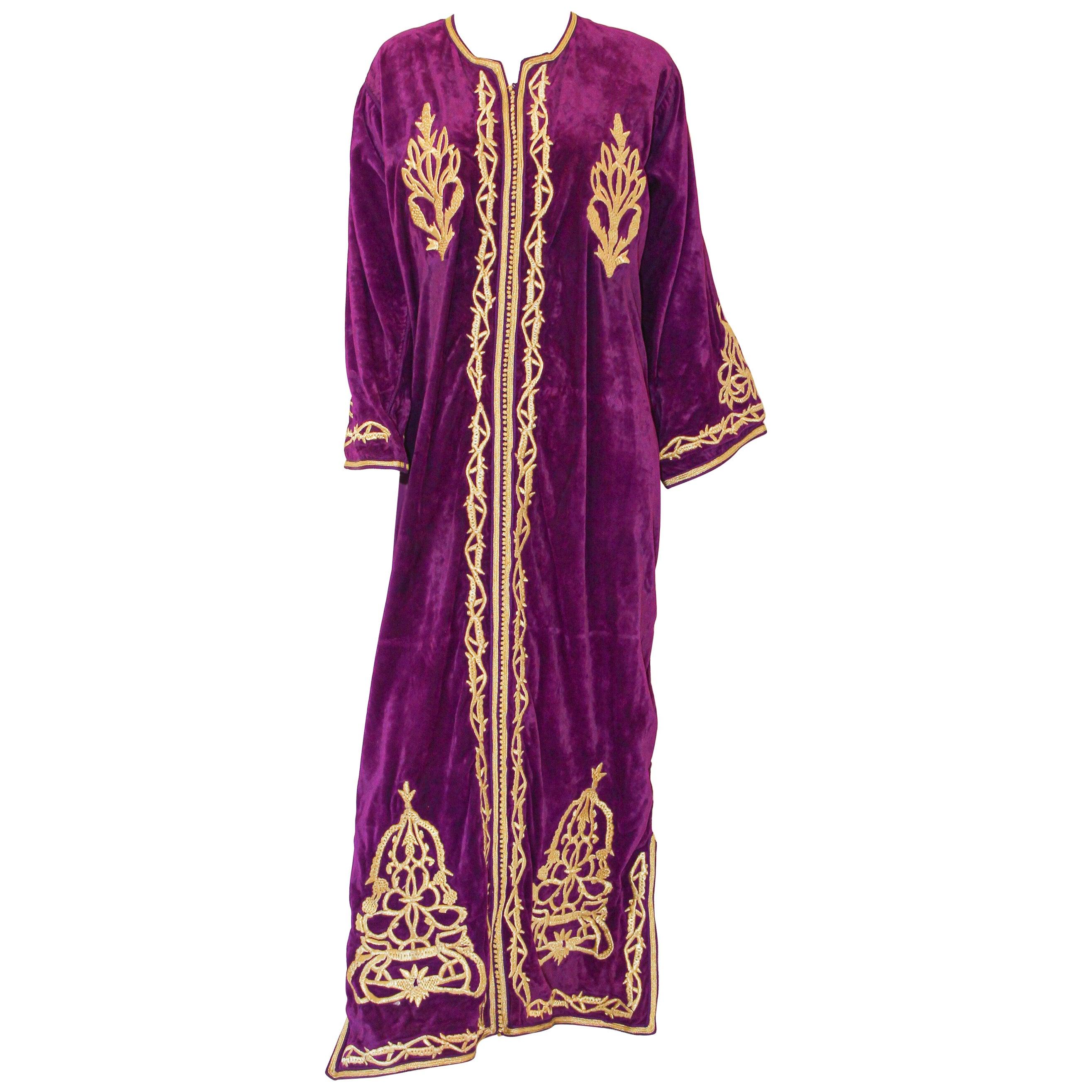 Moroccan Caftan Purple Velvet Embroidered with Gold Kaftan, circa 1970