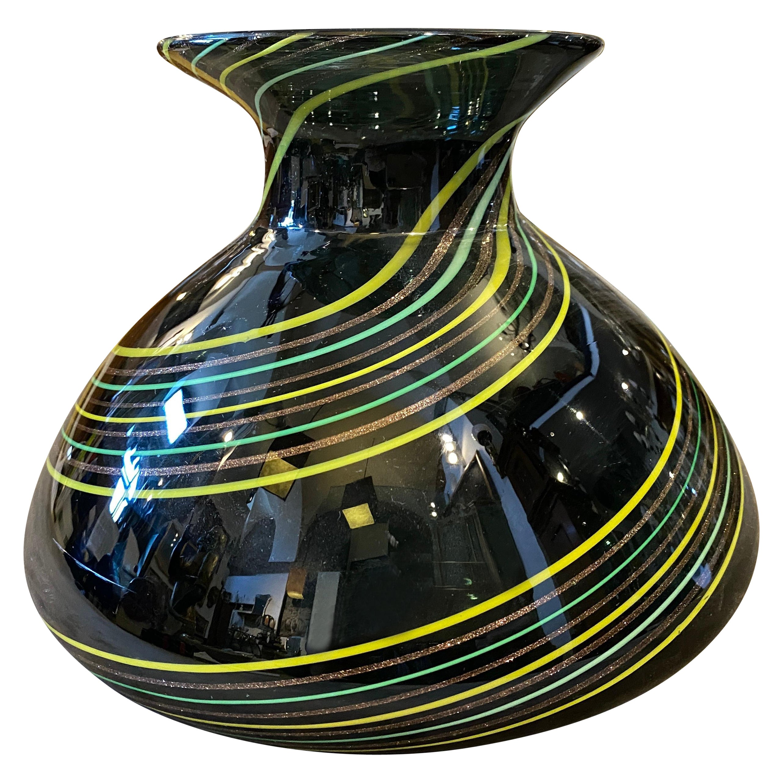 1980s Modernist Striped Murano Glass Vase
