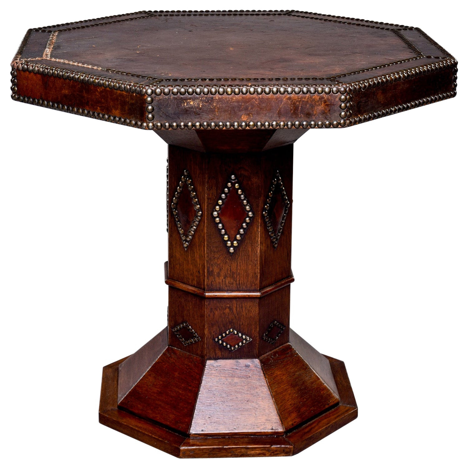 French Leather and Brass Nail Head Art Deco Octagonal Side Table