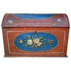 Original Painted Table Case, Hand Decorated, Antique