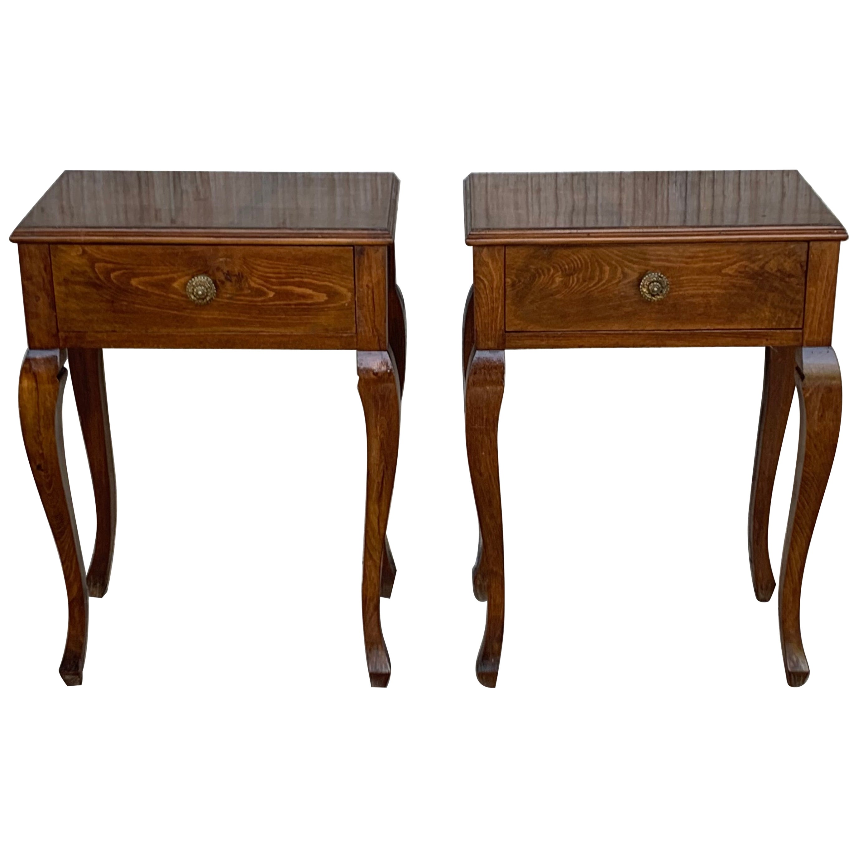 20th Pair of French Louis XV Style Walnut Bedside Tables with Drawer