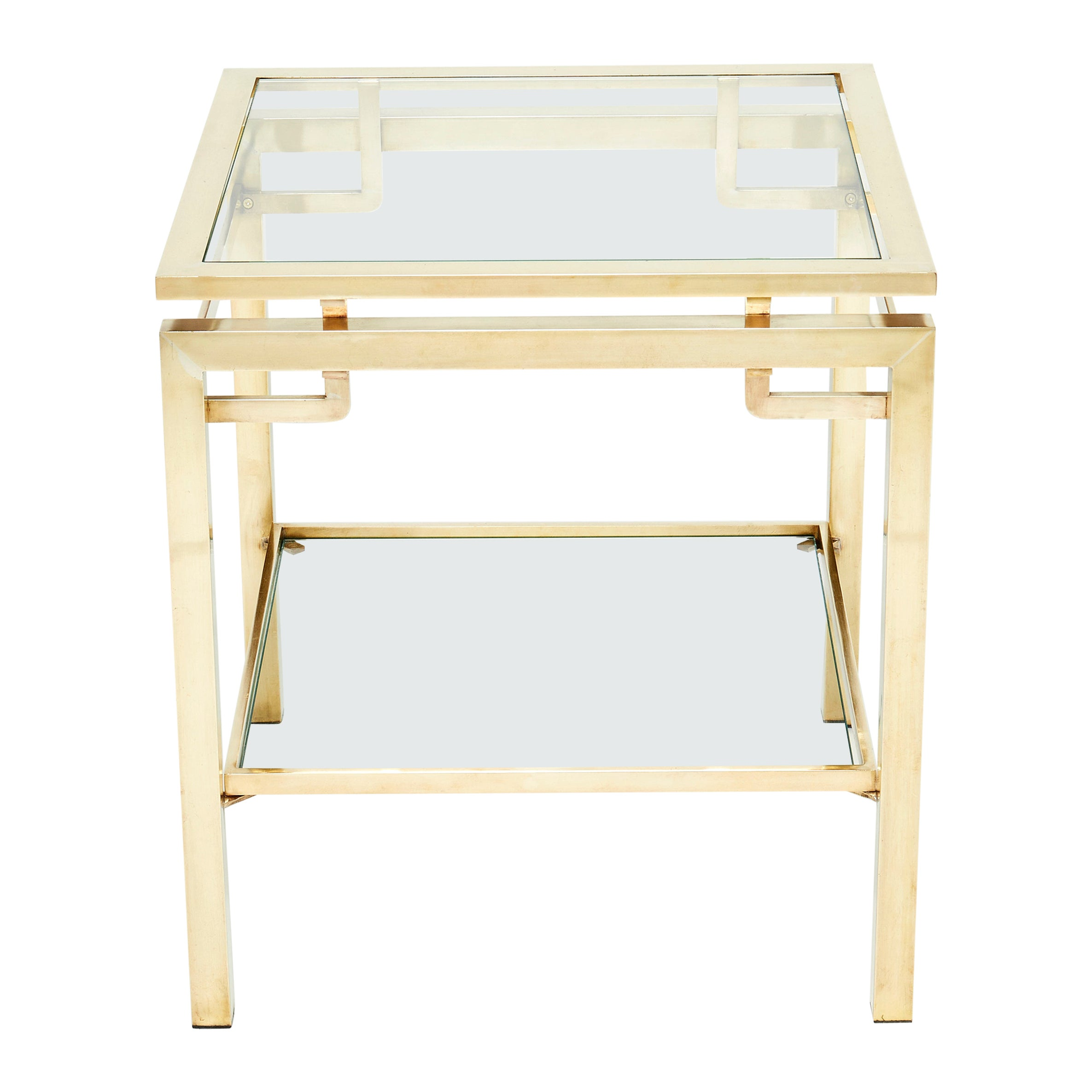 French Brass Two-Tier End Table Guy Lefevre for Maison Jansen, 1970s