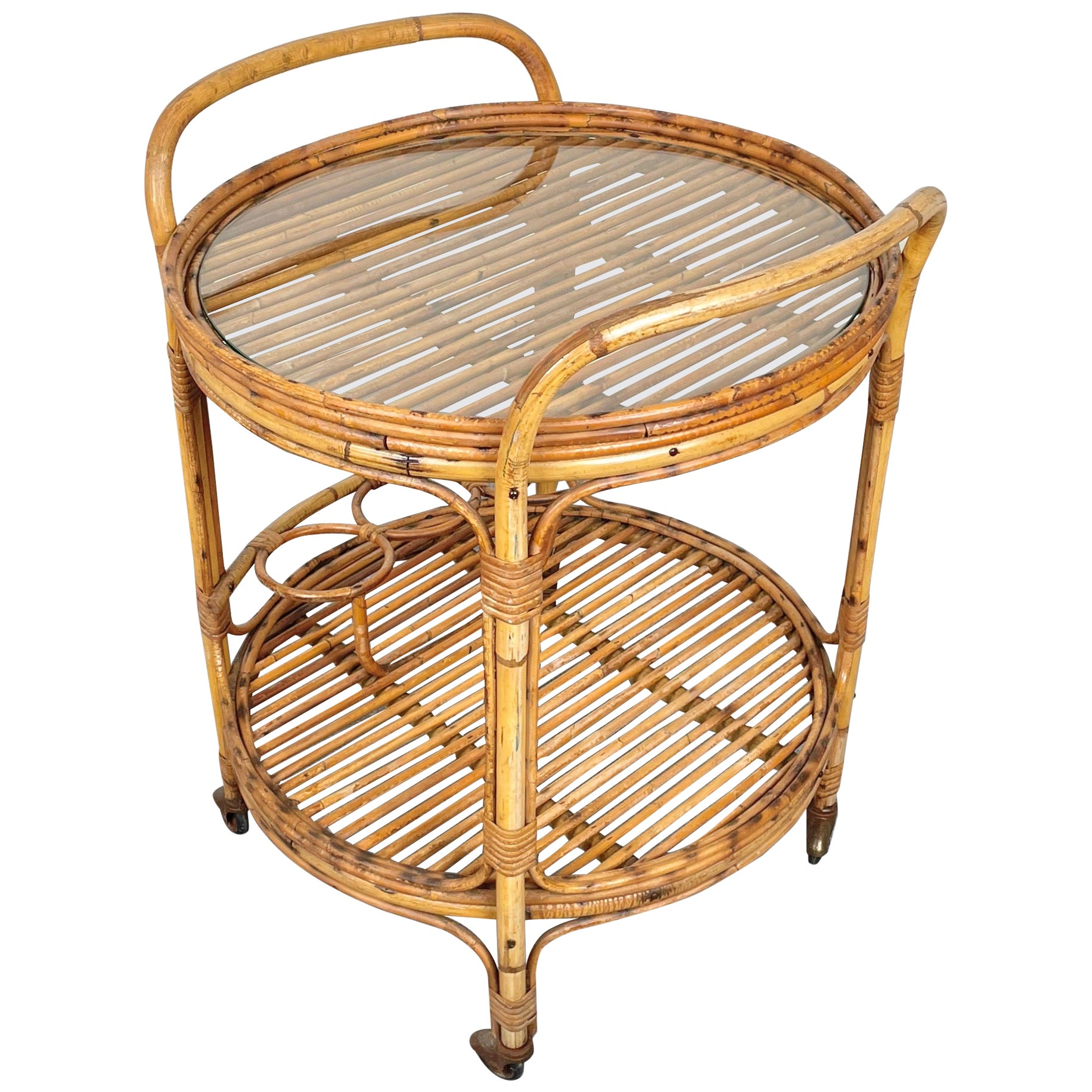 Bamboo & Rattan Round Serving Bar Cart Trolley, Italy, 1960s