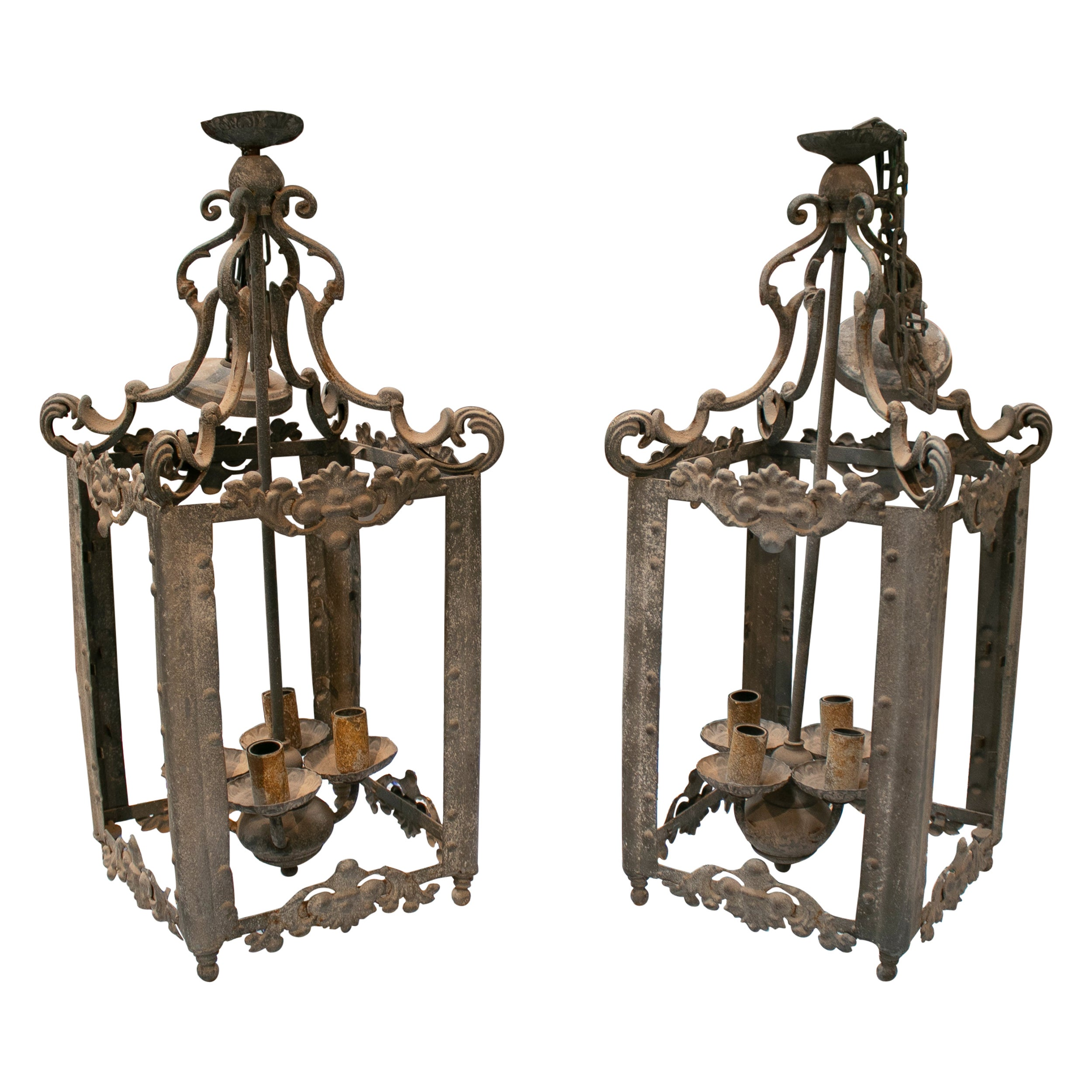 1970s Spanish Pair of Four Sconce Wrought Iron Ceiling Hanging Lamps