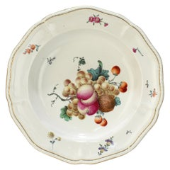 18th Century Frankenthal Porcelain Bowl with Hand Painted Fruit & Nut Decor