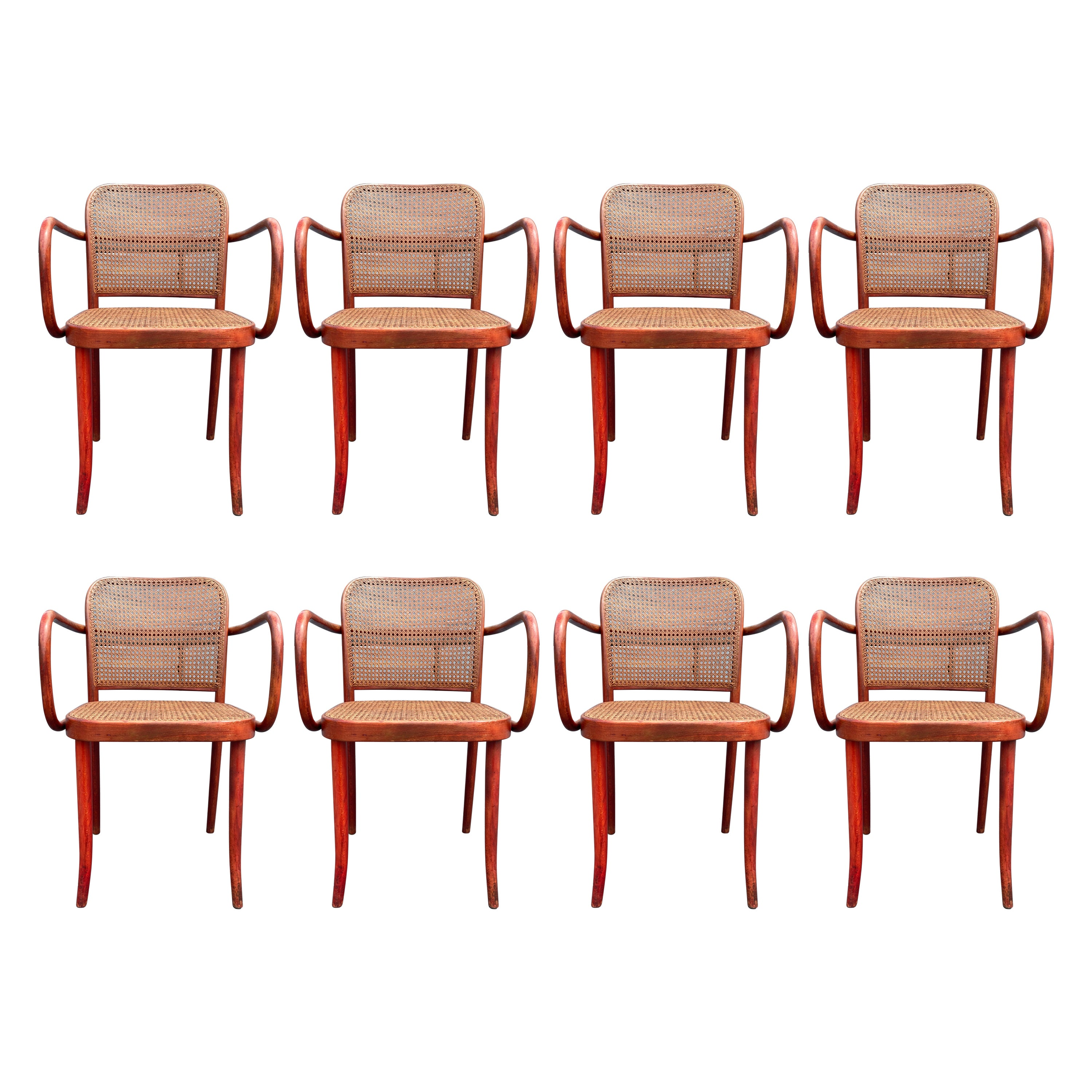 Set of Eight Dining Chairs by Josef Hoffmann, Bentwood, Red Stain, Thonet, Cane