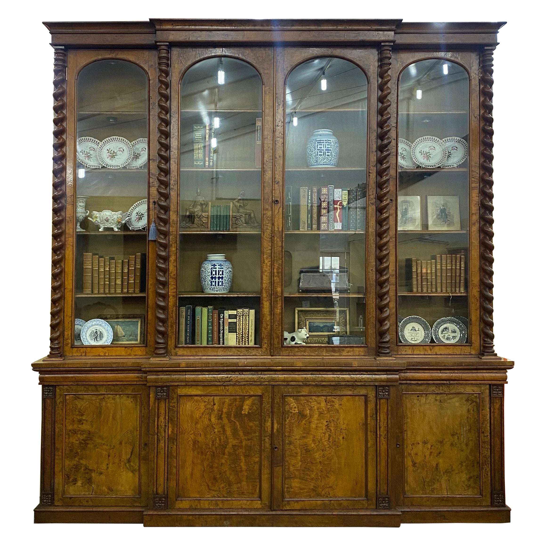 Large Scale 19th Century English Pollard Oak Breakfront Bookcase