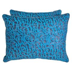 Pair of Custom Blue Fortuny Pillows with Swirls