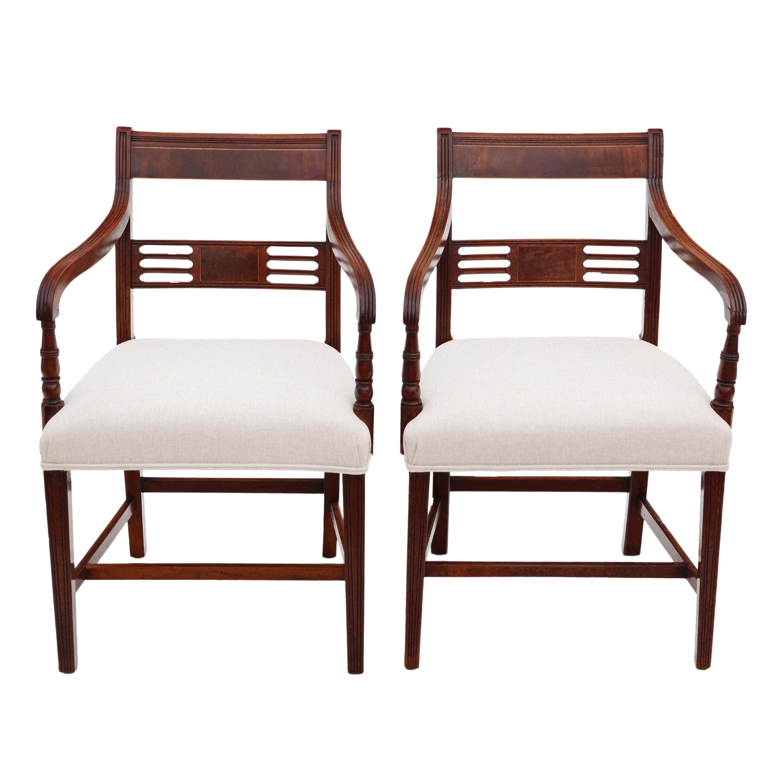 Antique Pair of Regency Elbow Carver Desk Chairs