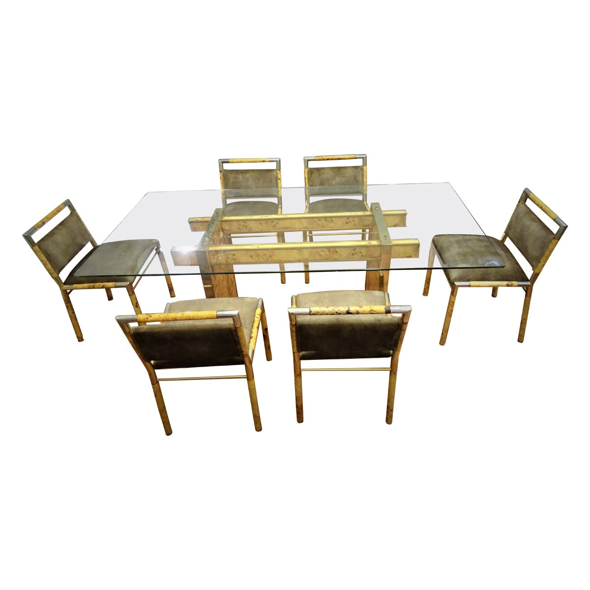 Willy Rizzo Attributed, Italian Dining Room Set, Dining Table and Six Chairs