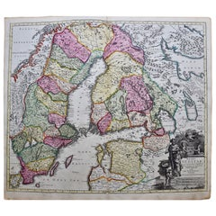 18th Century Hand-Colored Homann Map of Scandinavia & Portions of Eastern Europe
