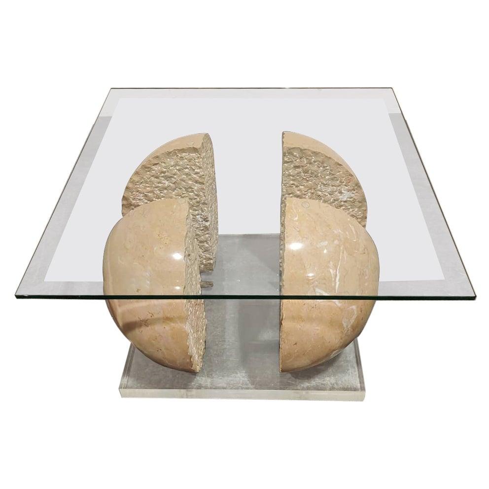 Vintage Marble Sphere Coffee Table, 1970s