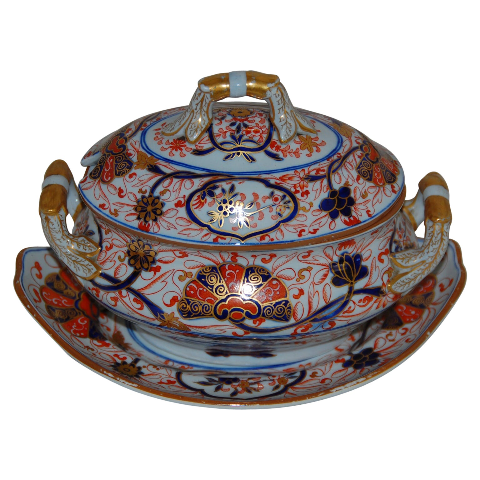English Early 19th Century Spode Ironstone Sauce Tureen and Underliner
