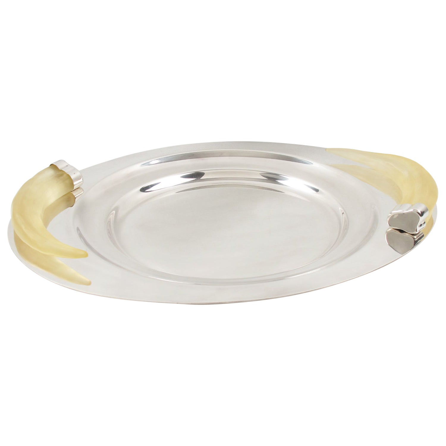 Prata Wolff Silver Plate Platter Tray with Lucite Horn Handles