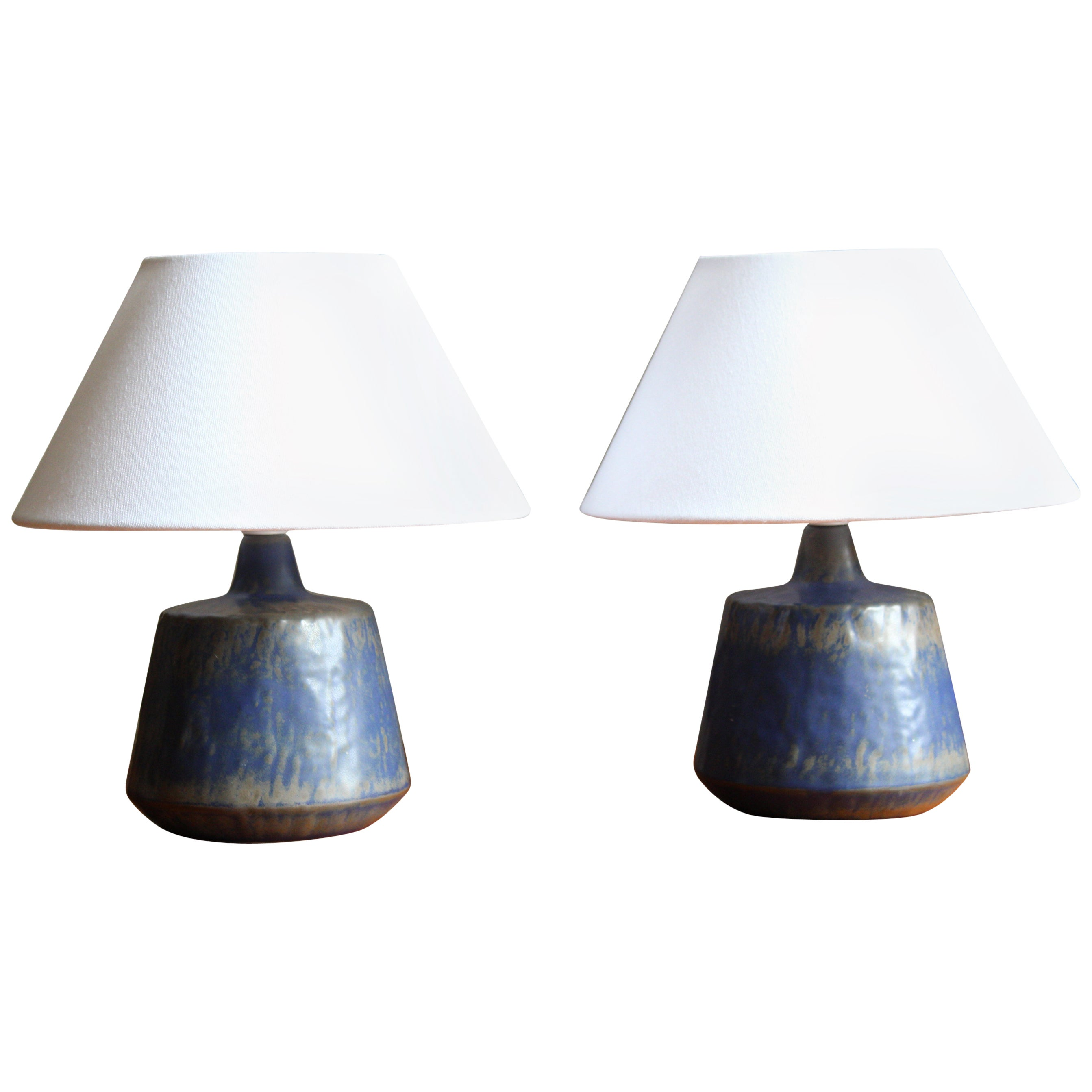 Gunnar Nylund, Table Lamps, Blue-Glazed Stoneware, Rörstand, Sweden, 1950s
