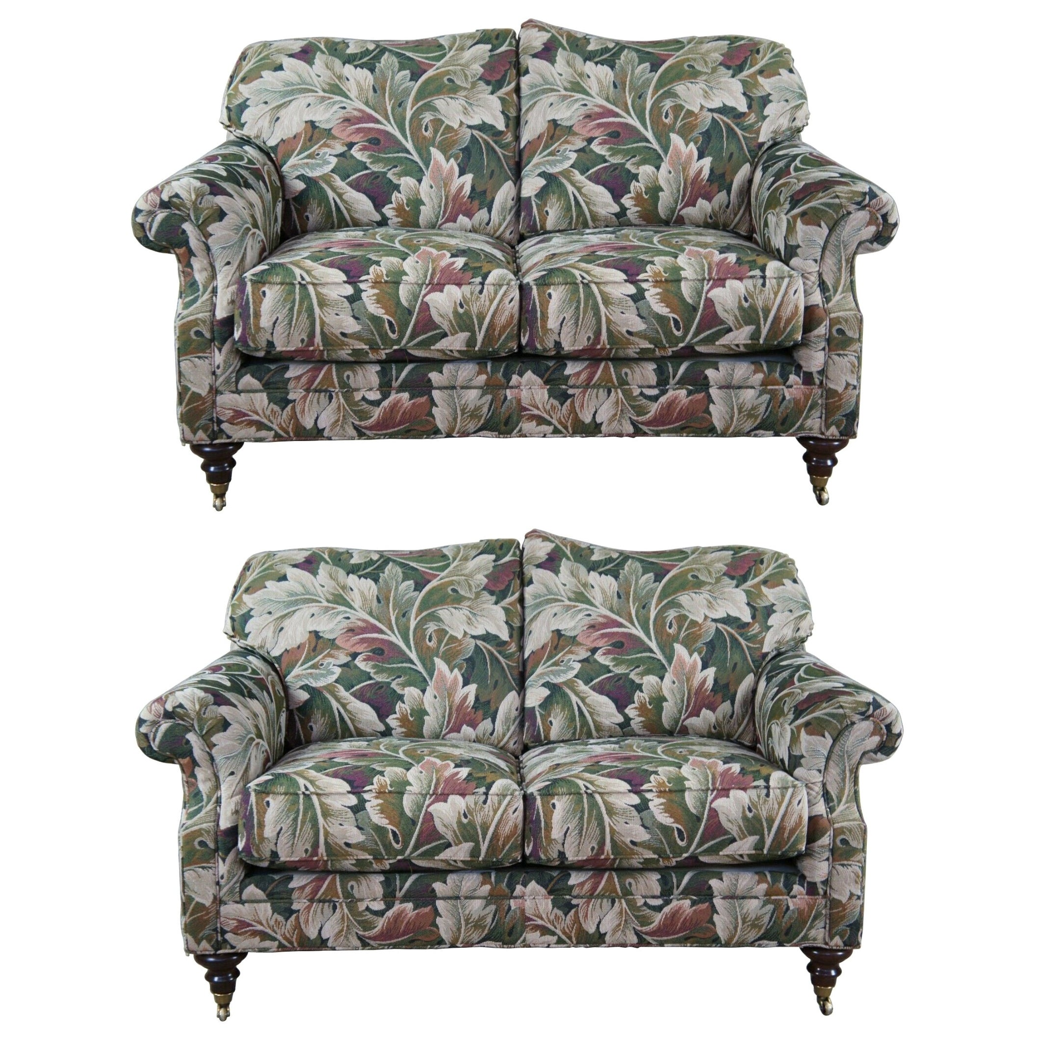 2 Vintage Pearson Furniture Camelback Loveseats Settee Sofa Couch Floral Pair