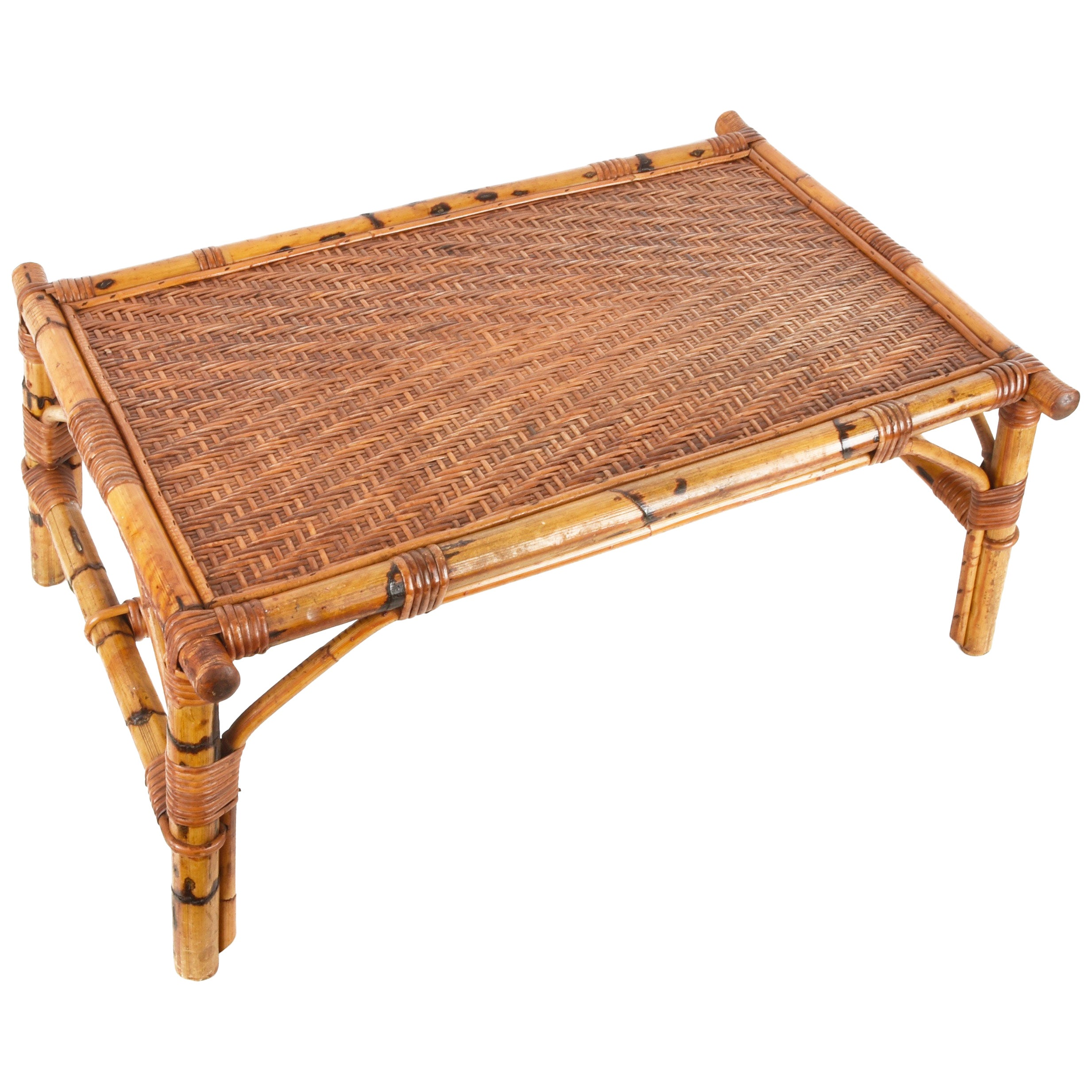 Vivai del Sud Midcentury Italian Rectangular Bamboo and Rattan Coffee Table 1970