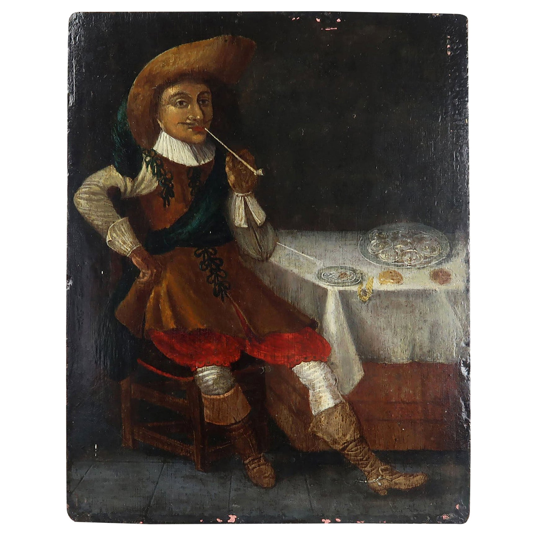 Naive Oil Painting of a Dutch Gentleman, 19th Century