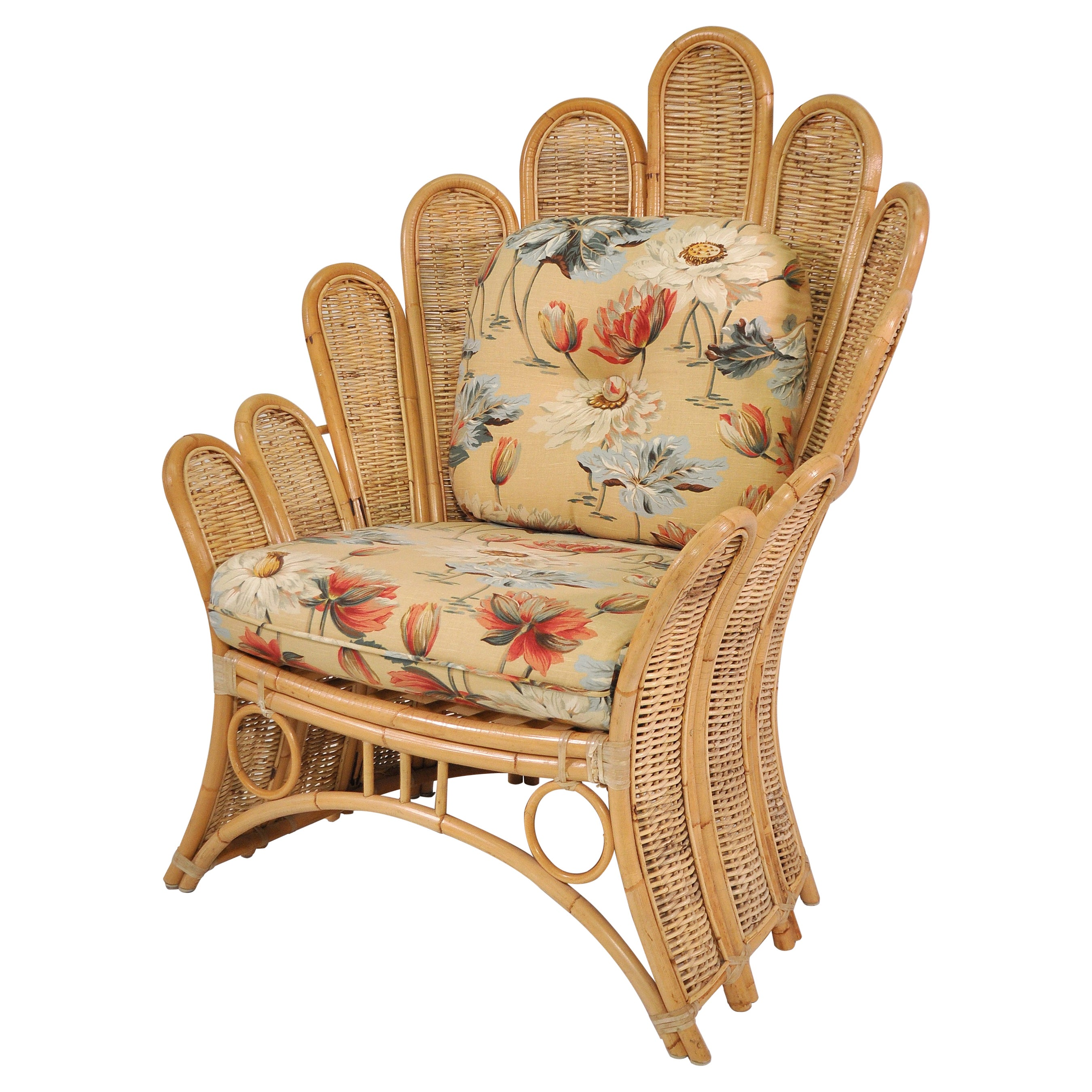 Mid-Century Rattan Peacock Fan Back Chair