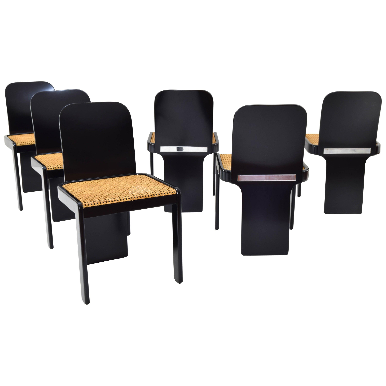 Set of Six Mid Century Italian Modern Chairs by P. Molinari for Pozzi Milano 70s