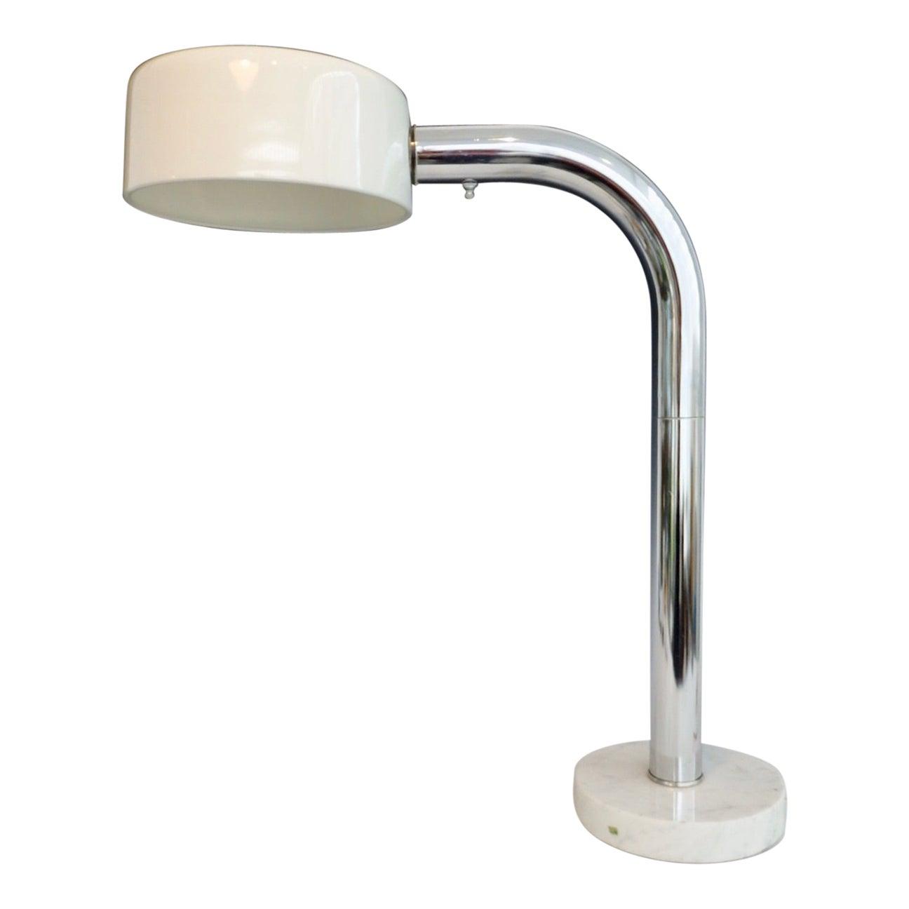 Chrome Gooseneck Desk Lamp on Italian Marble Base with Adjustable Deflector