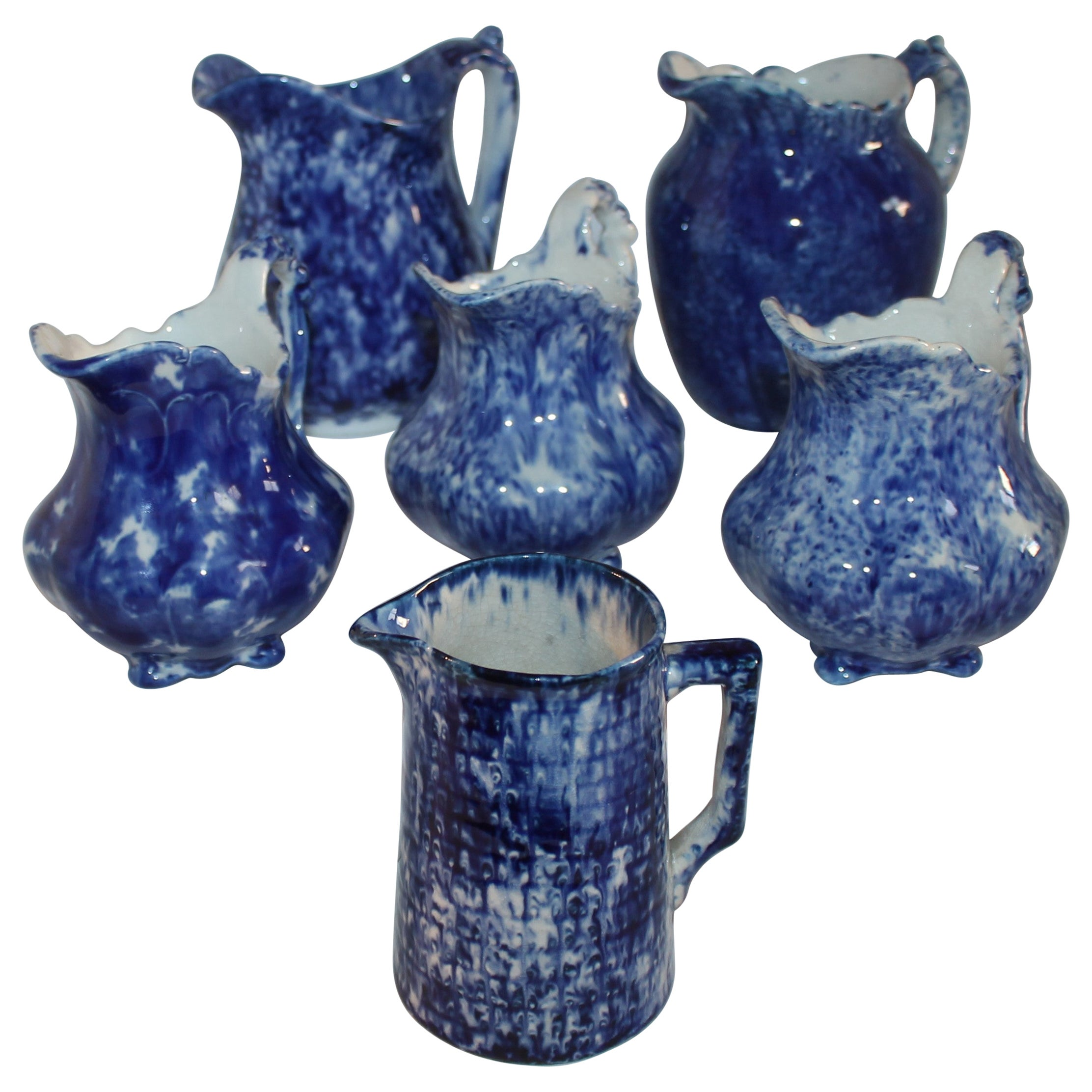 Collection of 19thc Sponge Ware Pitchers, 6 Pieces