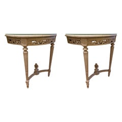 Pair of Louis XVI Style Painted Demi Lunes with Faux Bois Marble Tops