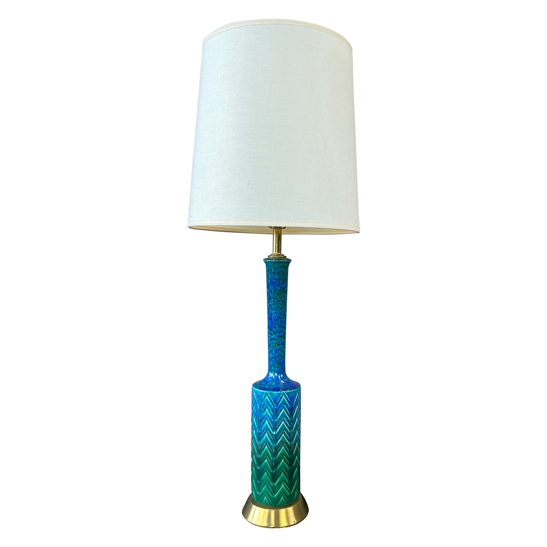 Italian Aldo Londi for Bitossi-Style Blue-Green Glazed Ceramic Table Lamp, 1960s