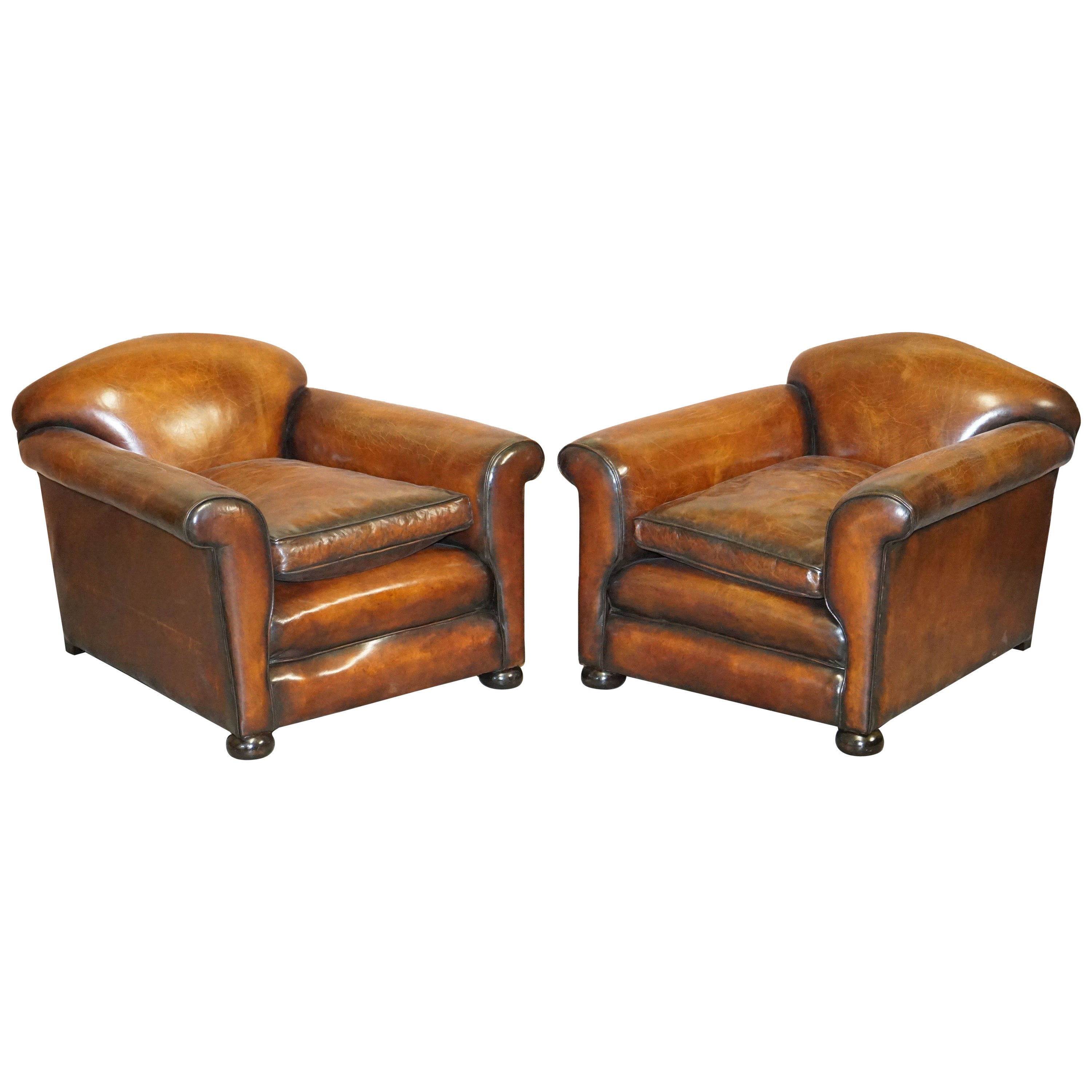 Sublime Pair of Victorian Fully Restored Chestnut Brown Leather Club Armchairs