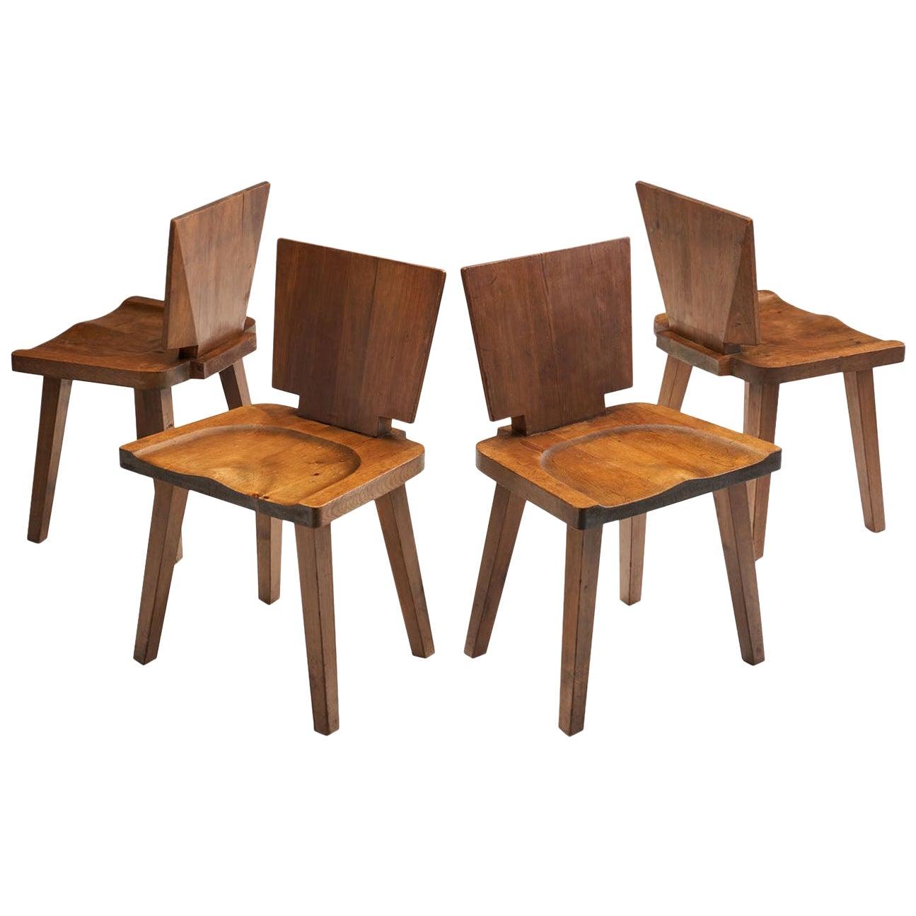 Set of Four Brutalist Pine Chairs, Scandinavia, circa 1950s