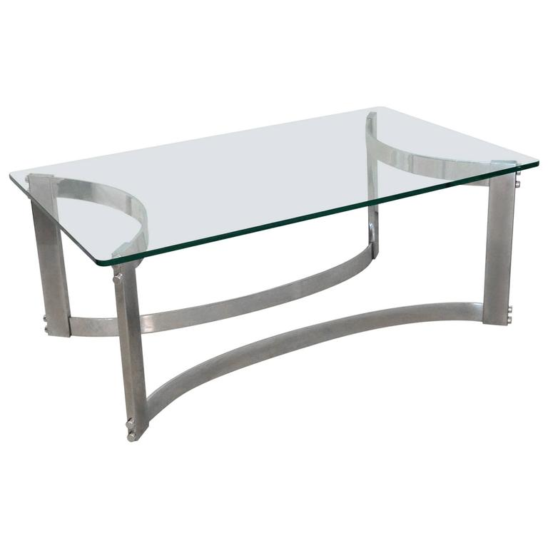 Rectangular Coffee Table With Glass Top And Curved Chrome Base At 1stdibs