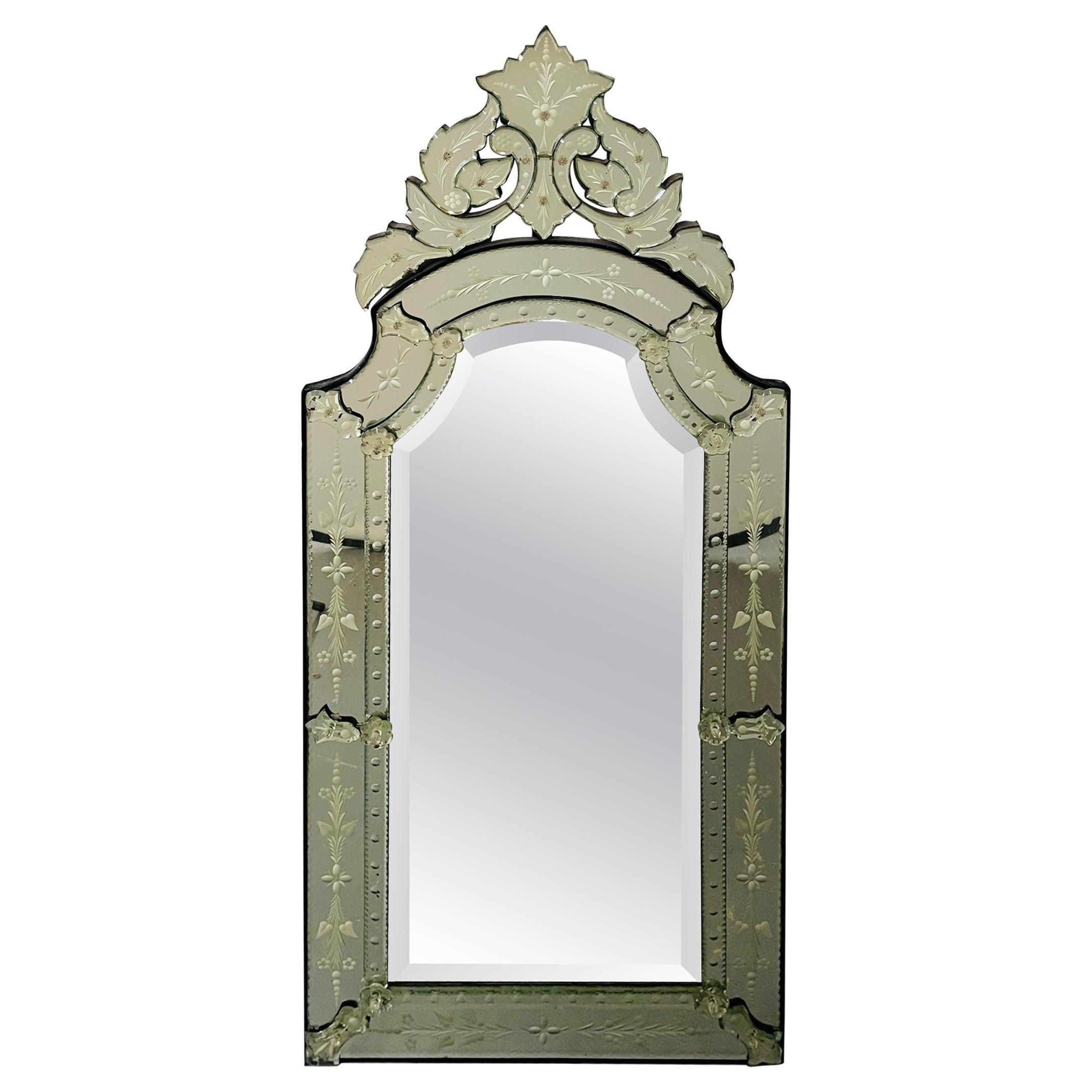 Antique Italian Venetian Etched Glass Mirror